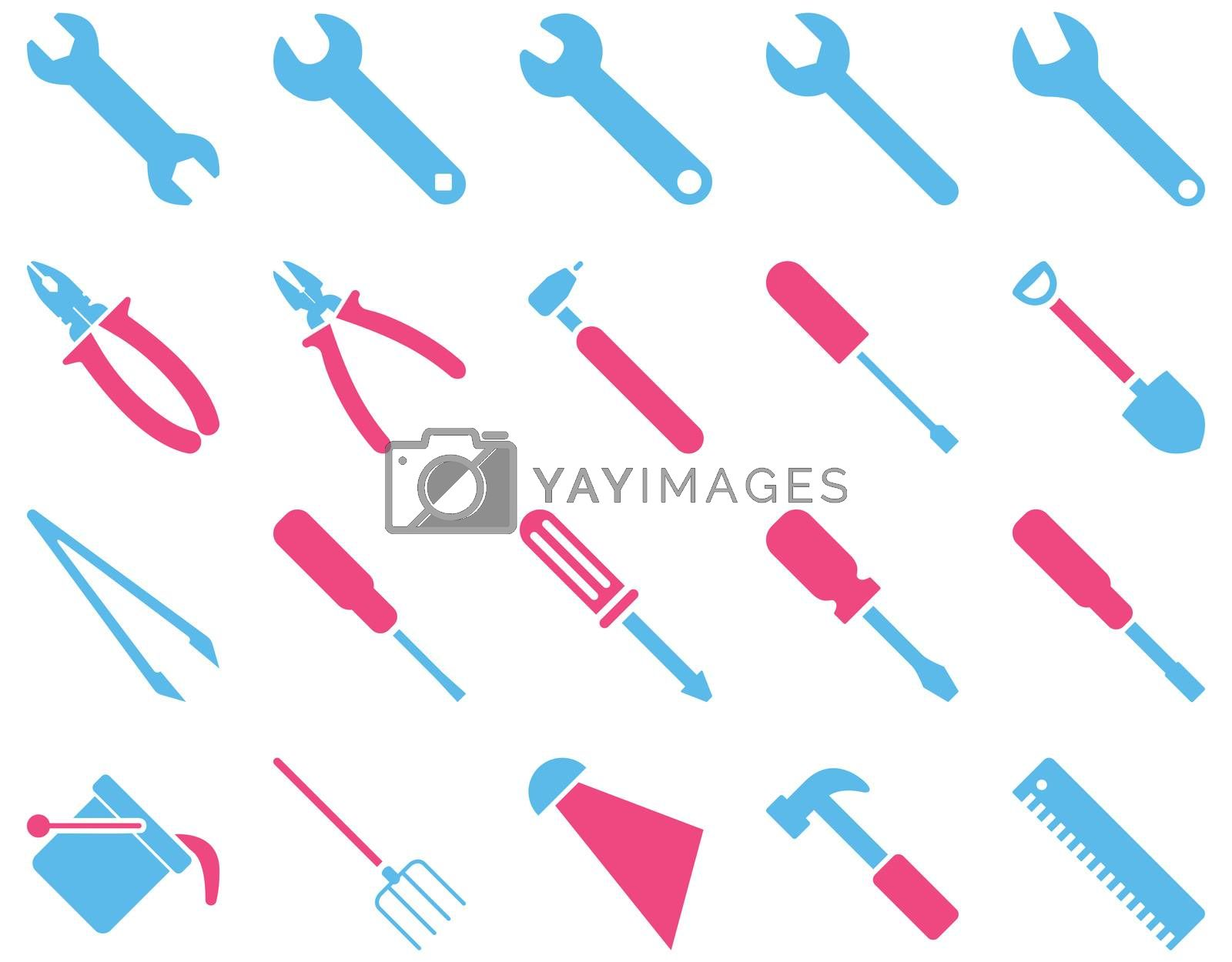 Equipment and Tools Icons. Icon set style is bicolor flat images, pink and blue colors, isolated on a white background.