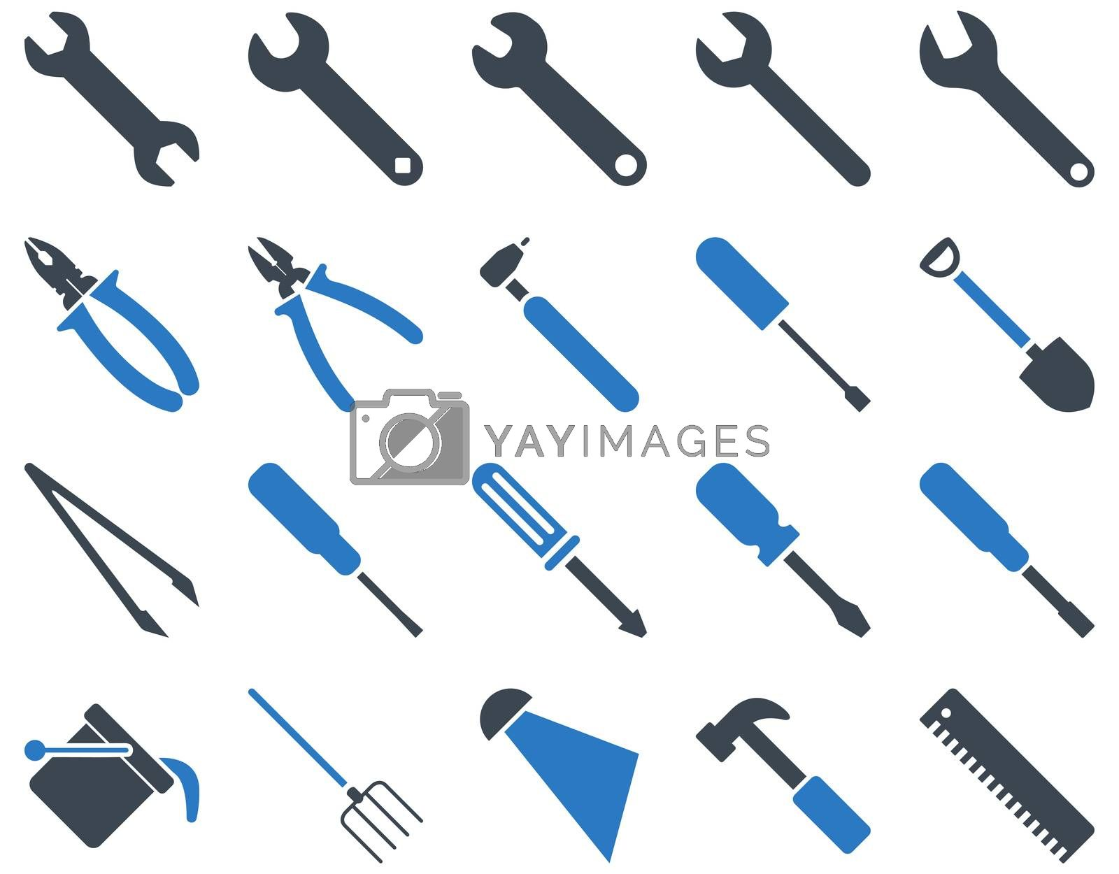 Equipment and Tools Icons. Icon set style is bicolor flat images, smooth blue colors, isolated on a white background.