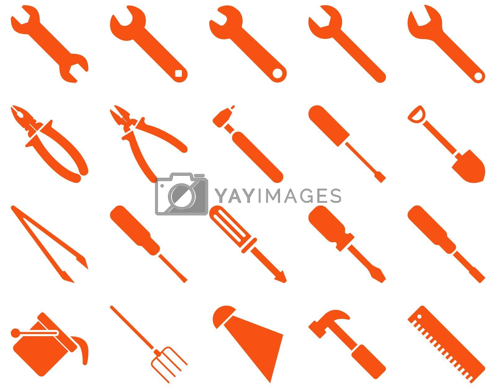 Equipment and Tools Icons. Glyph set style is flat images, orange color, isolated on a white background.
