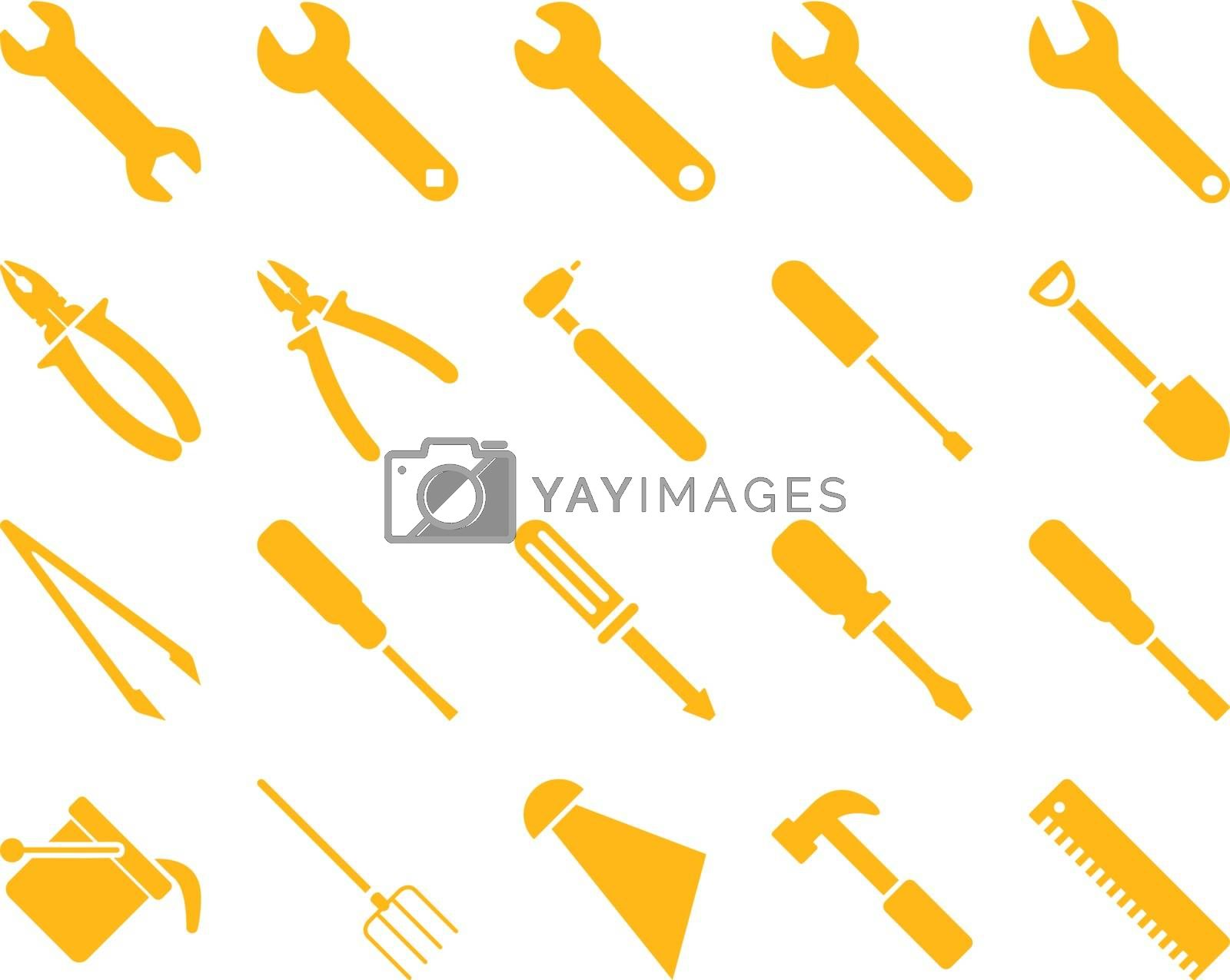Equipment and Tools Icons. Vector set style is flat images, yellow color, isolated on a white background.