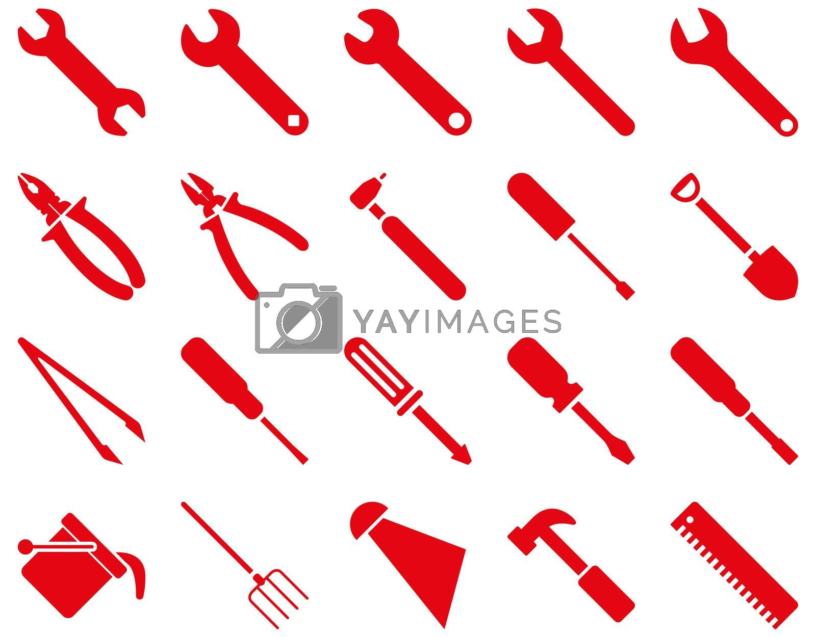Equipment and Tools Icons. Glyph set style is flat images, red color, isolated on a white background.