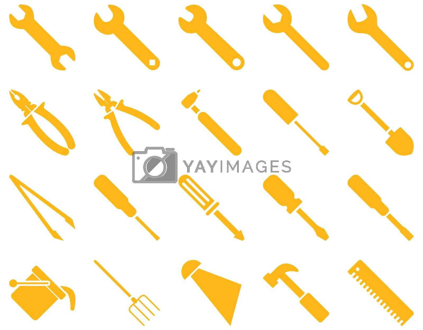 Equipment and Tools Icons. Glyph set style is flat images, yellow color, isolated on a white background.