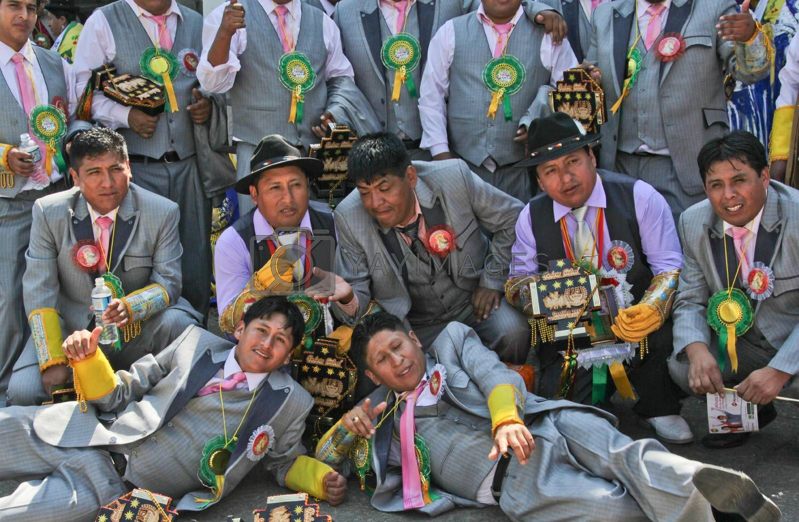 SAO PAULO, BRAZIL August 9 2015: An unidentified group of men with typical costumes wait for the Morenada parade in Bolivian Independence Day celebration in Sao Paulo Brazil.