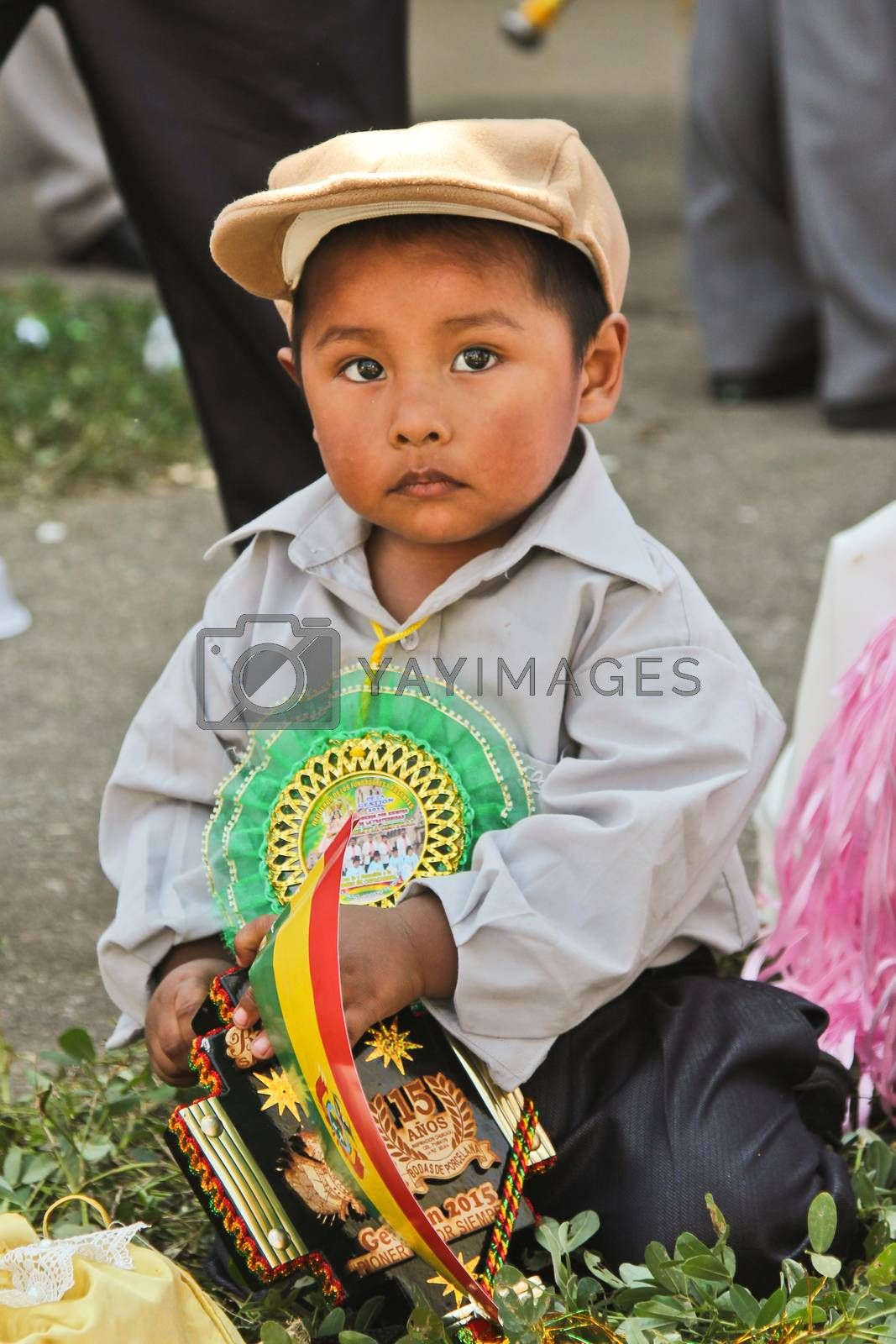 SAO PAULO, BRAZIL August 9 2015: An unidentified boy with typical costume in the Morenada parade in Bolivian Independence Day celebration in Sao Paulo Brazil.
