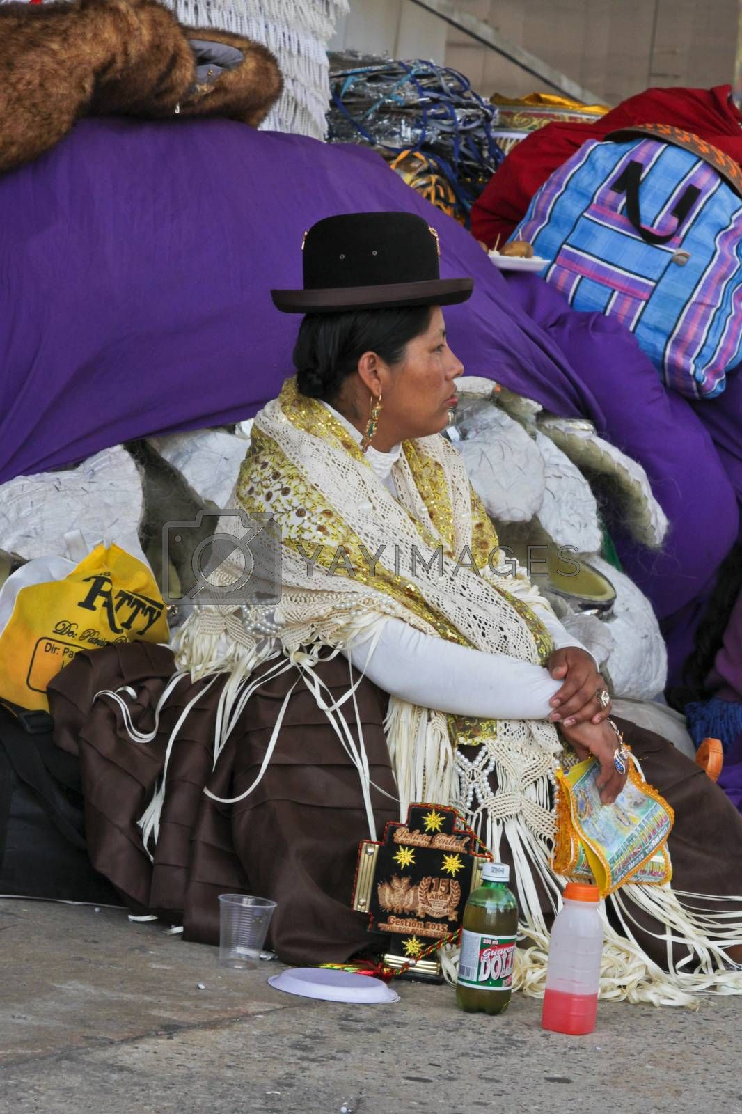 SAO PAULO, BRAZIL August 9 2015: An unidentified woman with typical costumes wait for the Morenada parade in Bolivian Independence Day celebration in Sao Paulo Brazil.