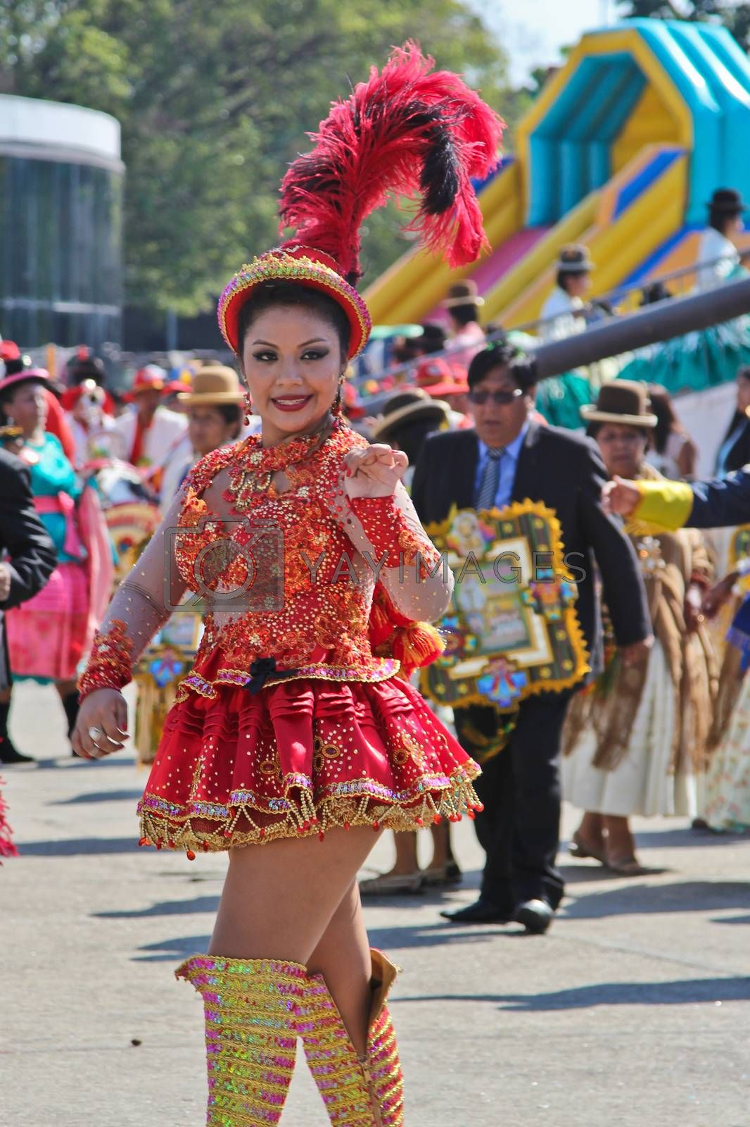 SAO PAULO, BRAZIL August 9 2015: An unidentified girl with typical costume in the Morenada parade in Bolivian Independence Day celebration in Sao Paulo Brazil.