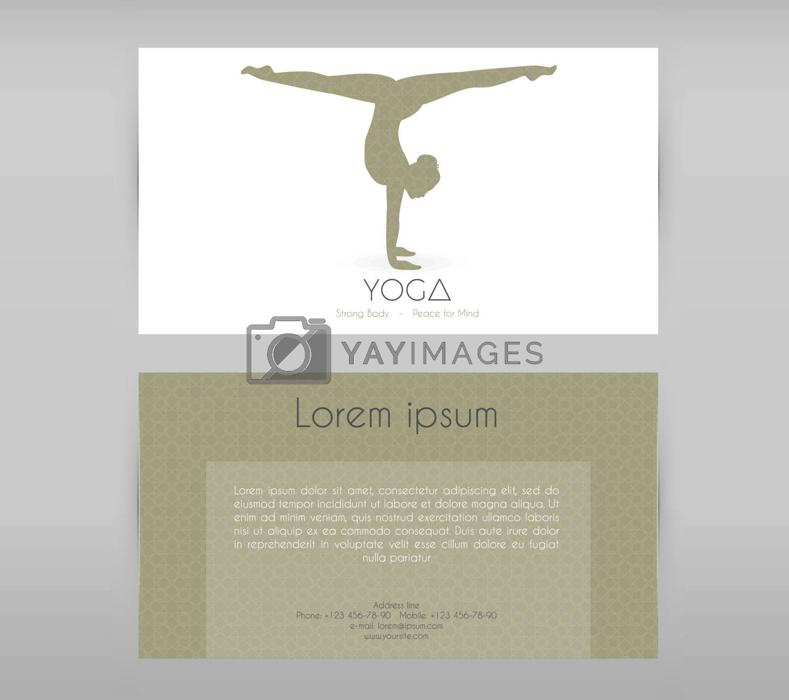 Vector illustration of Woman doing yoga asanas, flyers
