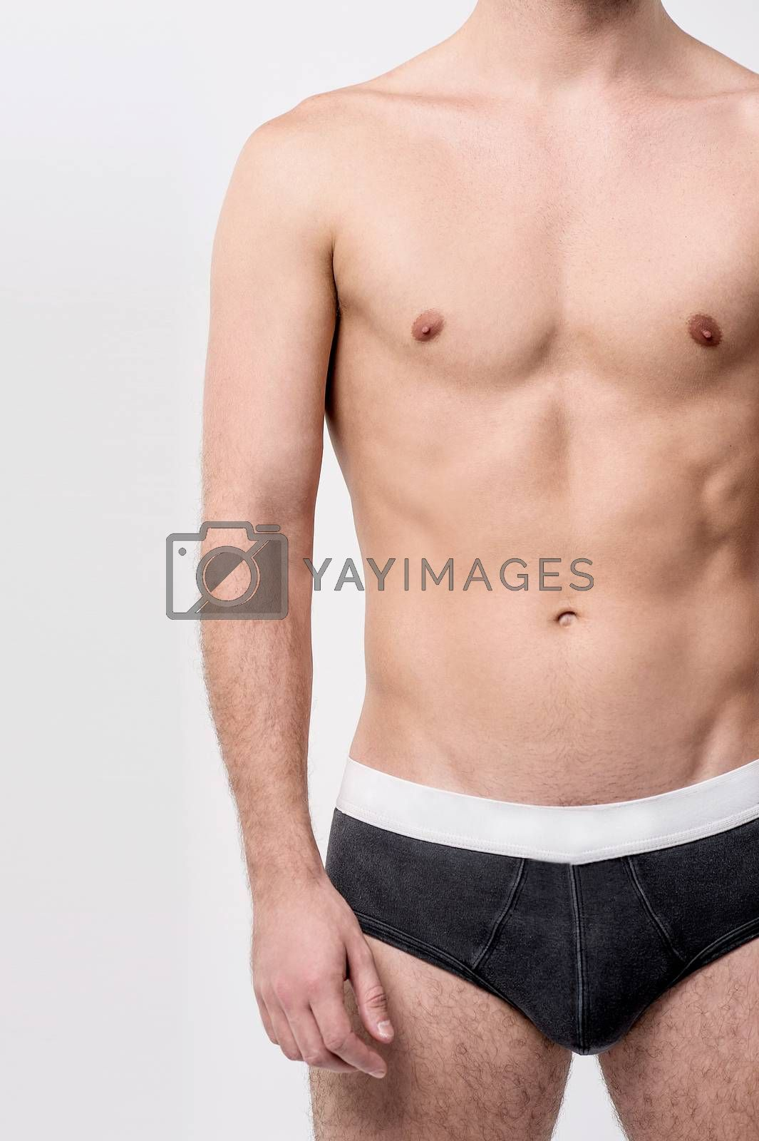 Cropped image of healthy male in underwear