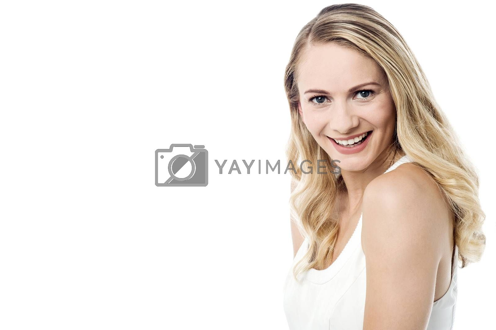Image of a beautiful young girl posing over white