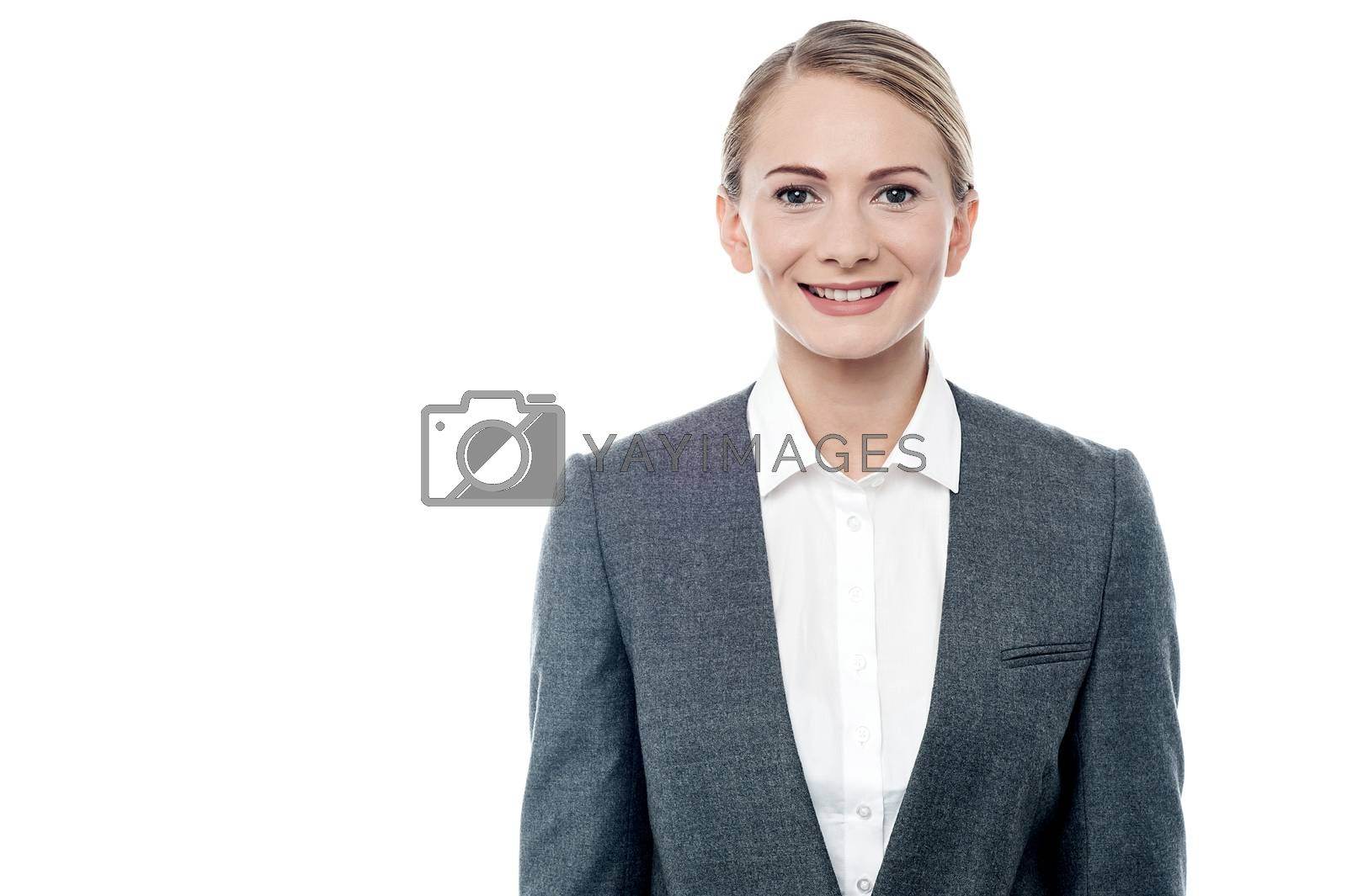 Portrait of a young businesswoman posing over white