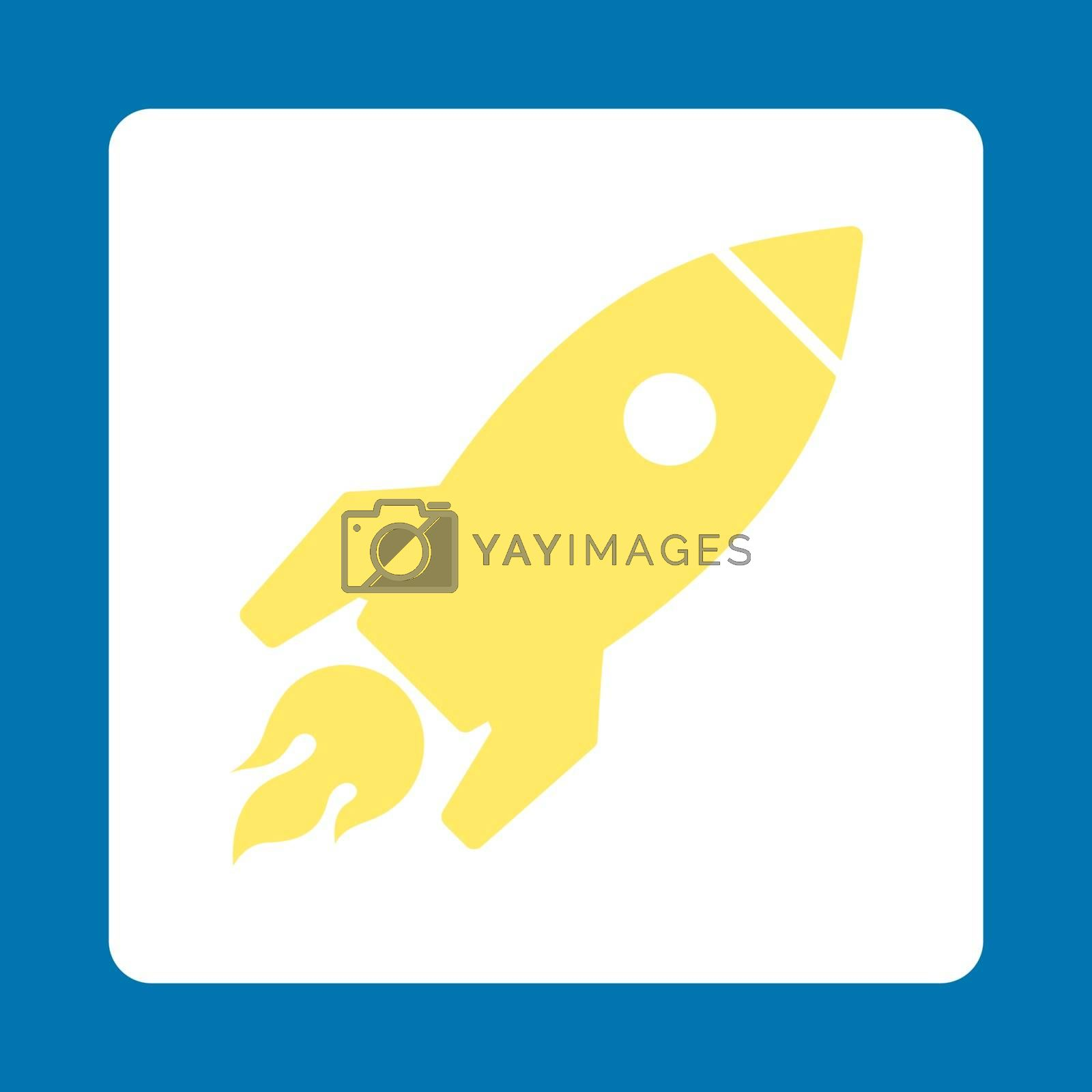 Rocket Launch icon from Commerce Buttons OverColor Set. Vector style is yellow and white colors, flat square rounded button, blue background.
