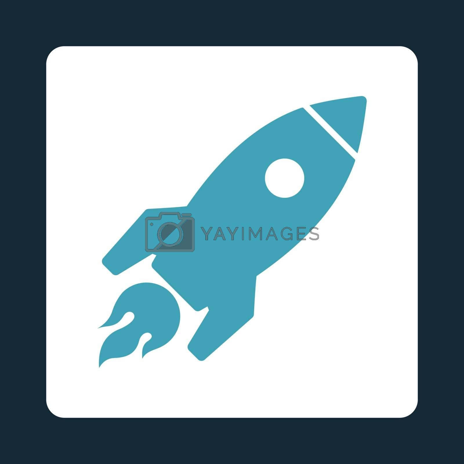 Rocket Launch icon from Commerce Buttons OverColor Set. Vector style is blue and white colors, flat square rounded button, dark blue background.