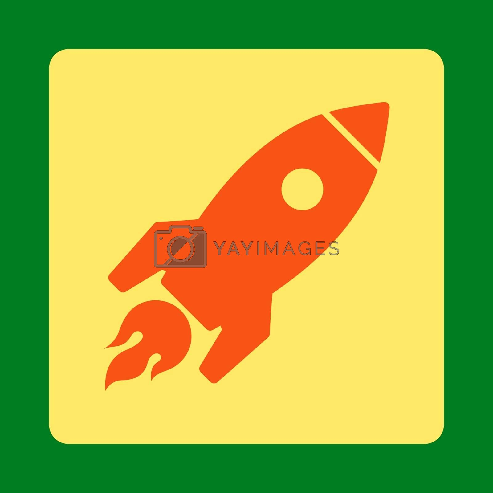 Rocket Launch icon from Commerce Buttons OverColor Set. Vector style is orange and yellow colors, flat square rounded button, green background.