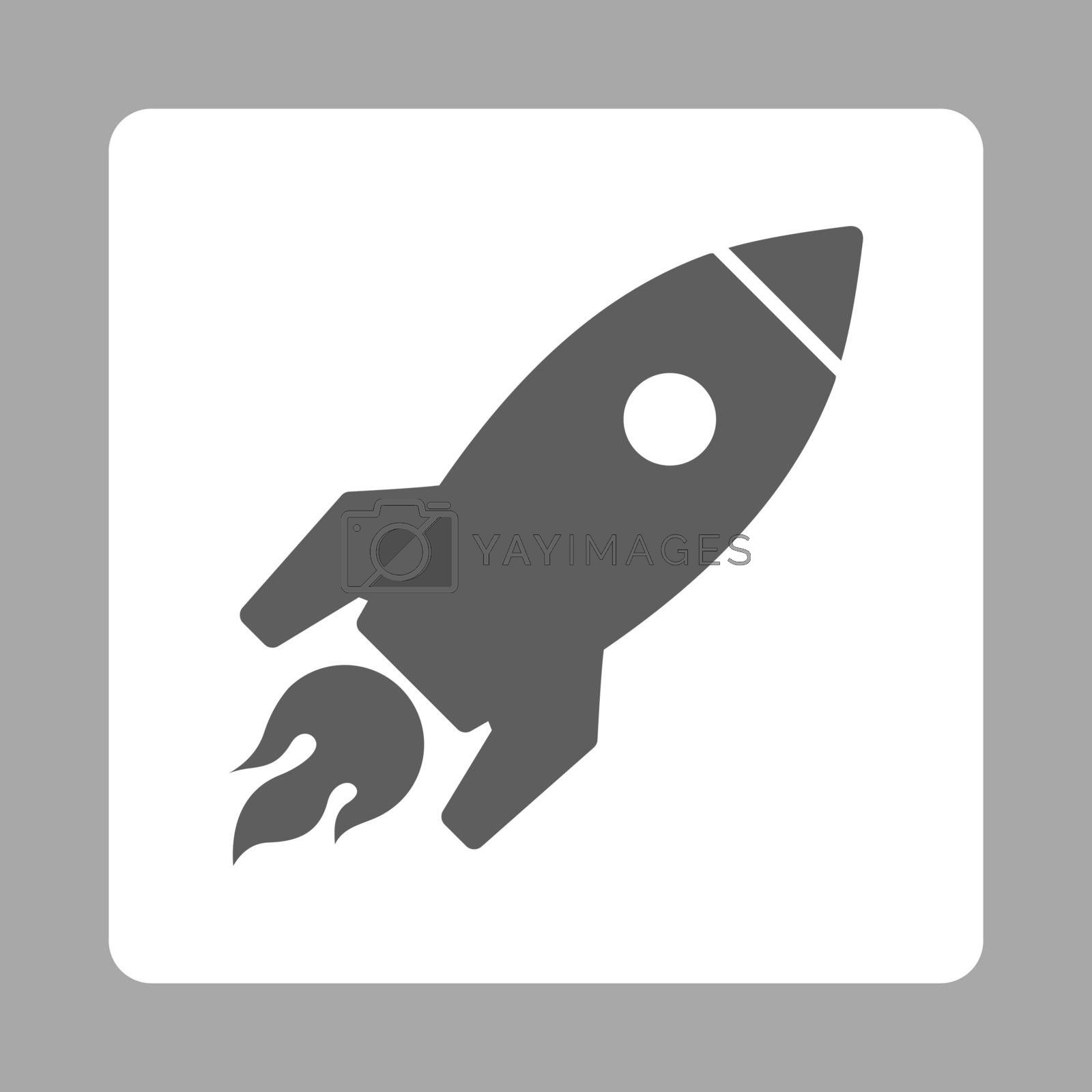 Rocket Launch icon from Commerce Buttons OverColor Set. Vector style is dark gray and white colors, flat square rounded button, silver background.
