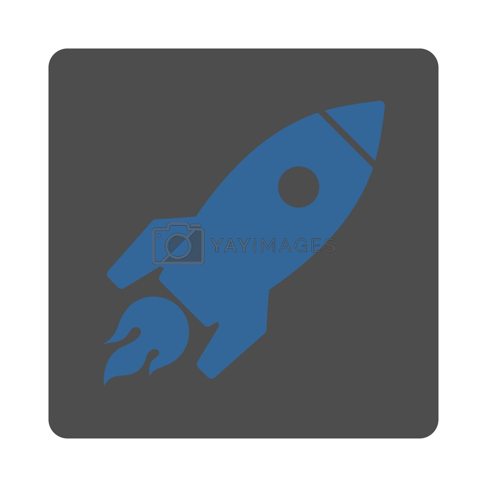 Rocket Launch icon. Glyph style is cobalt and gray colors, flat square rounded button, white background.