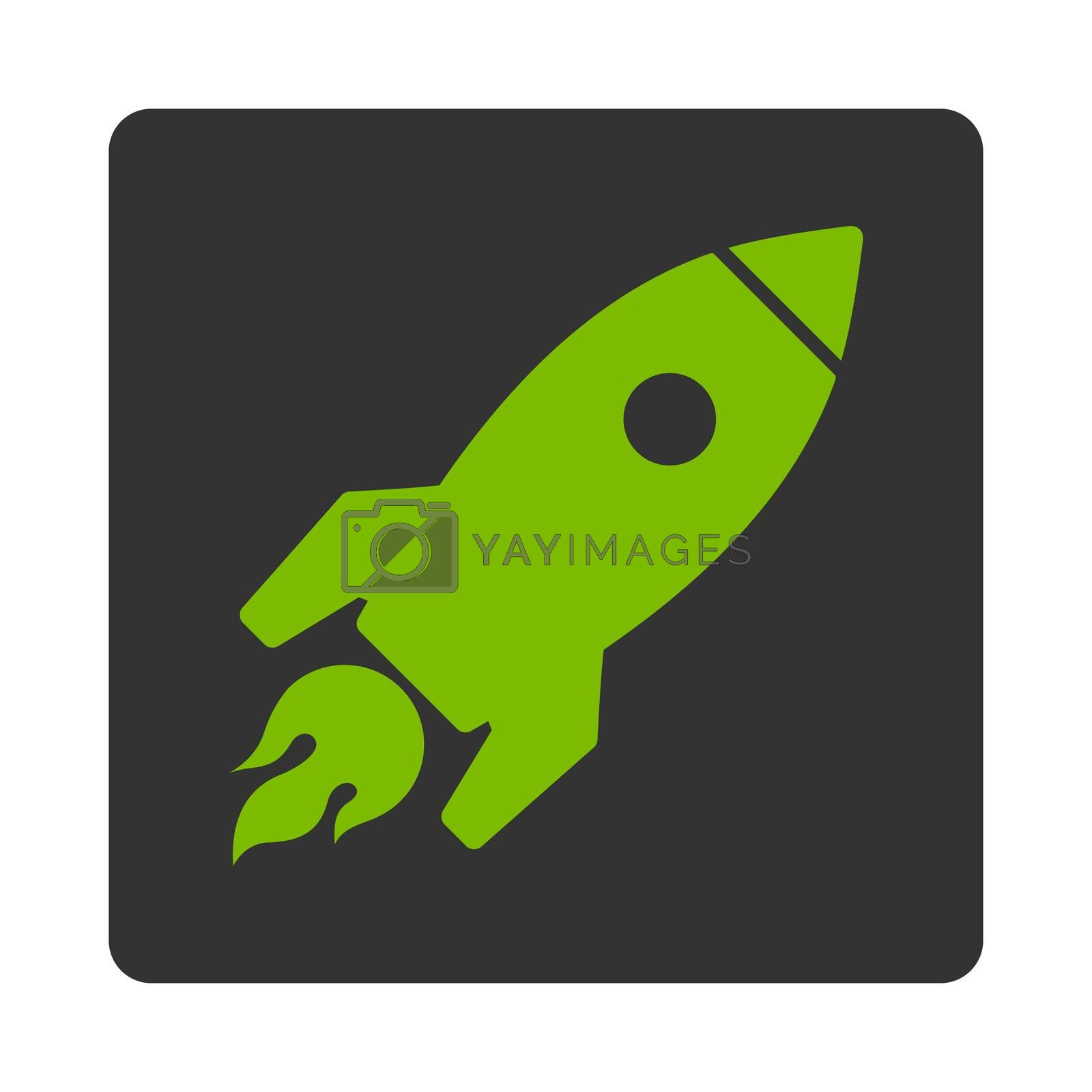 Rocket Launch icon. Glyph style is eco green and gray colors, flat square rounded button, white background.