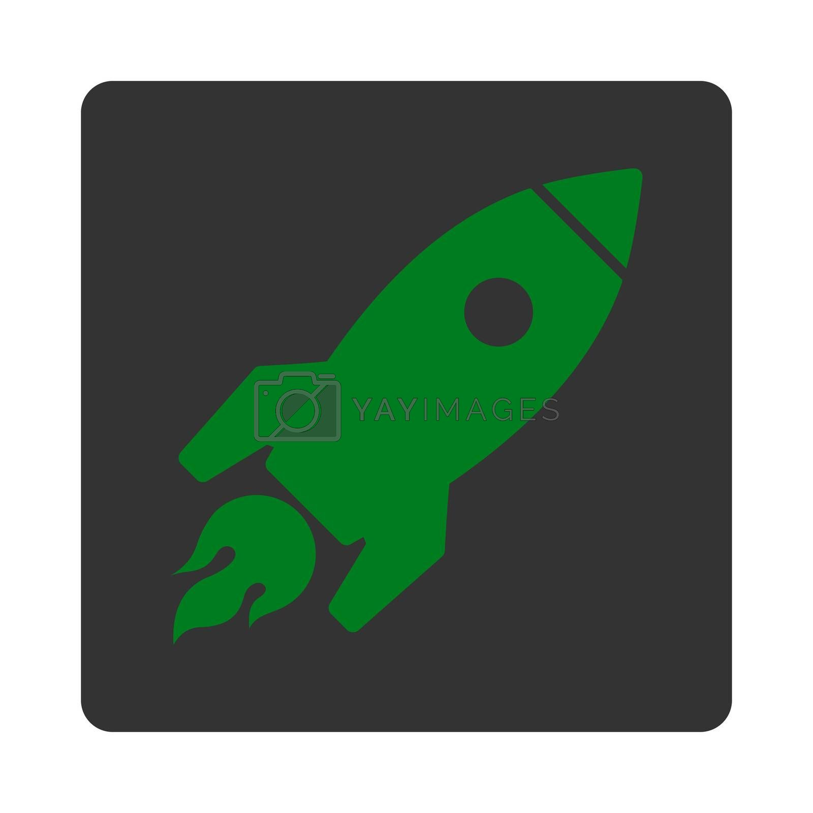 Rocket Launch icon. Glyph style is green and gray colors, flat square rounded button, white background.