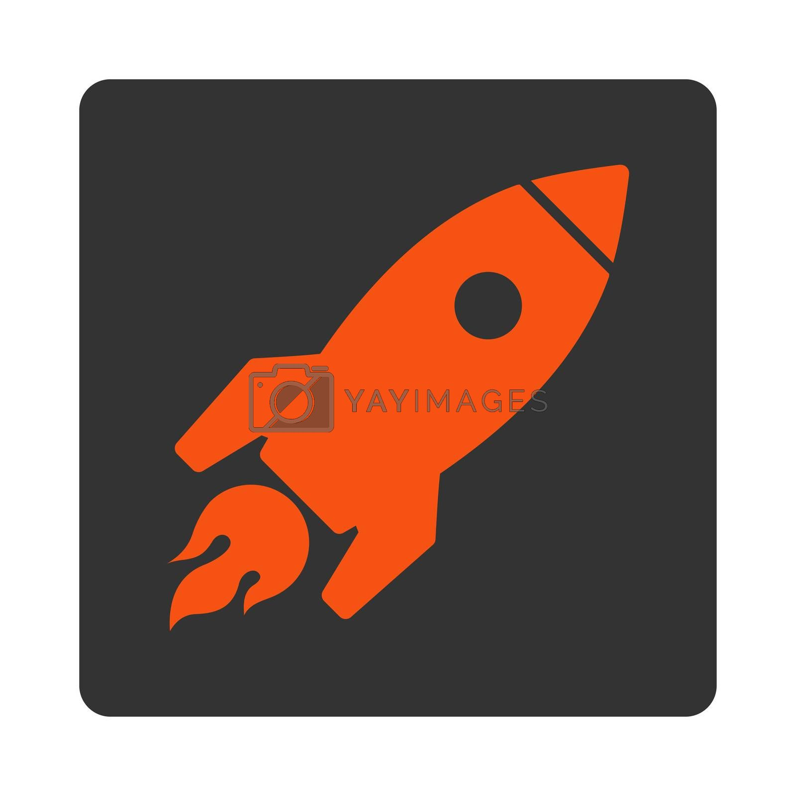 Rocket Launch icon. Glyph style is orange and gray colors, flat square rounded button, white background.