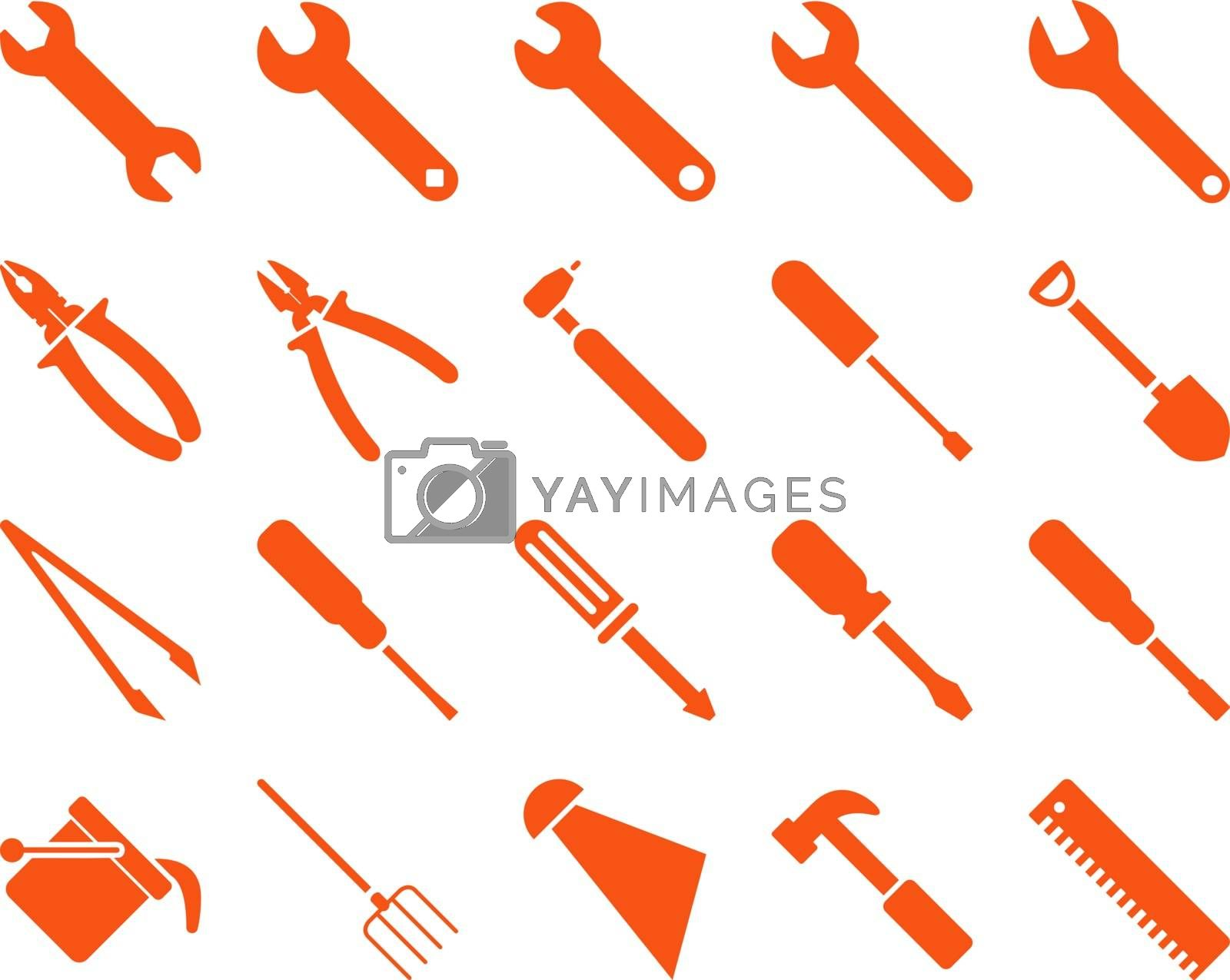 Equipment and Tools Icons. Vector set style is flat images, orange color, isolated on a white background.