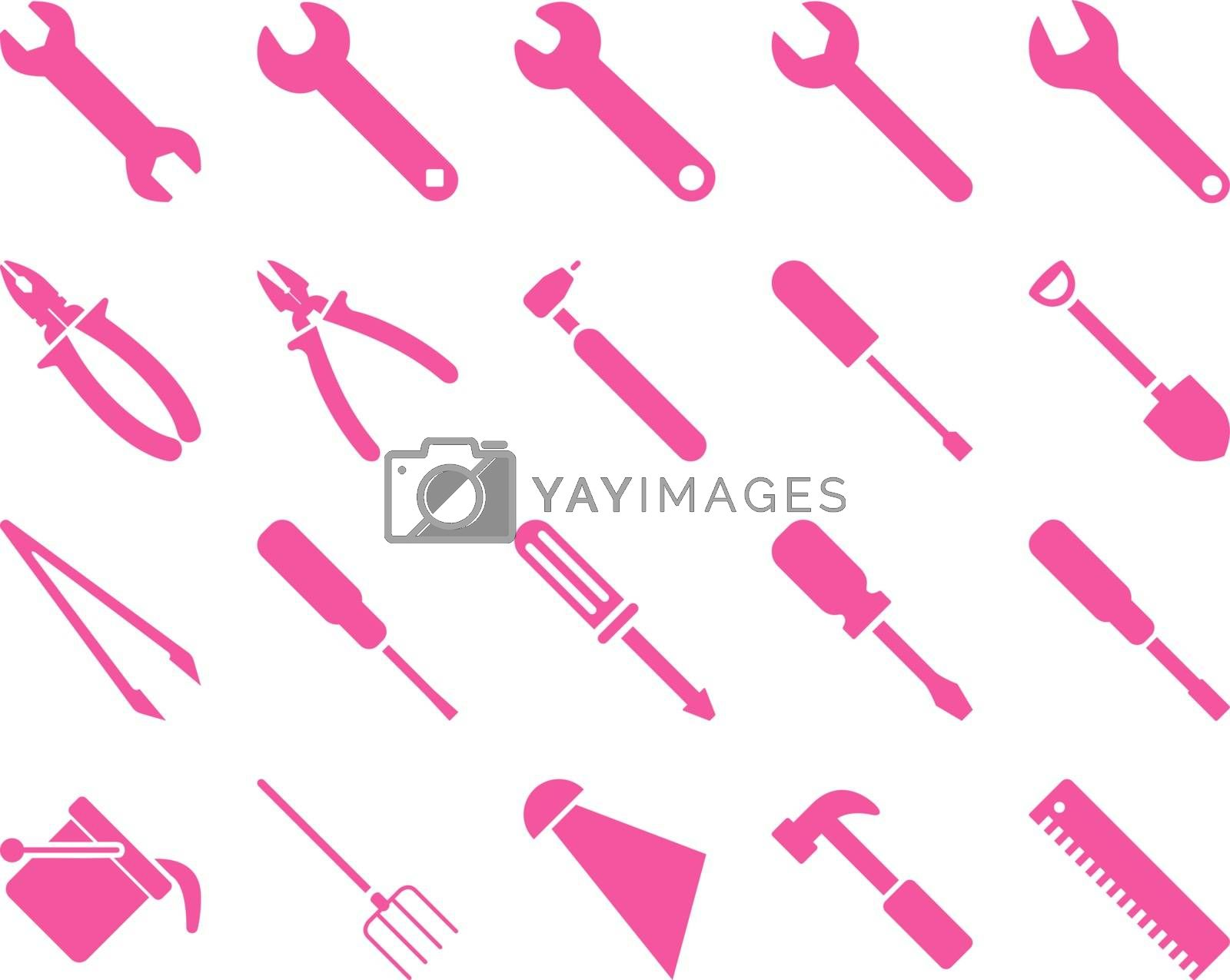 Equipment and Tools Icons. Vector set style is flat images, pink color, isolated on a white background.