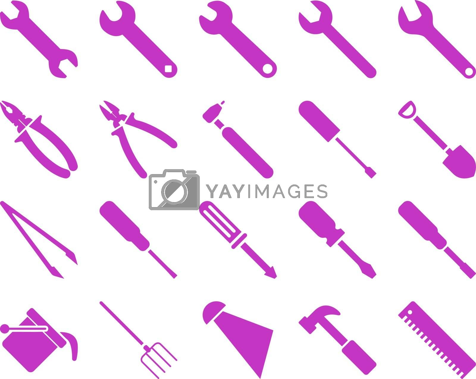 Equipment and Tools Icons. Vector set style is flat images, violet color, isolated on a white background.