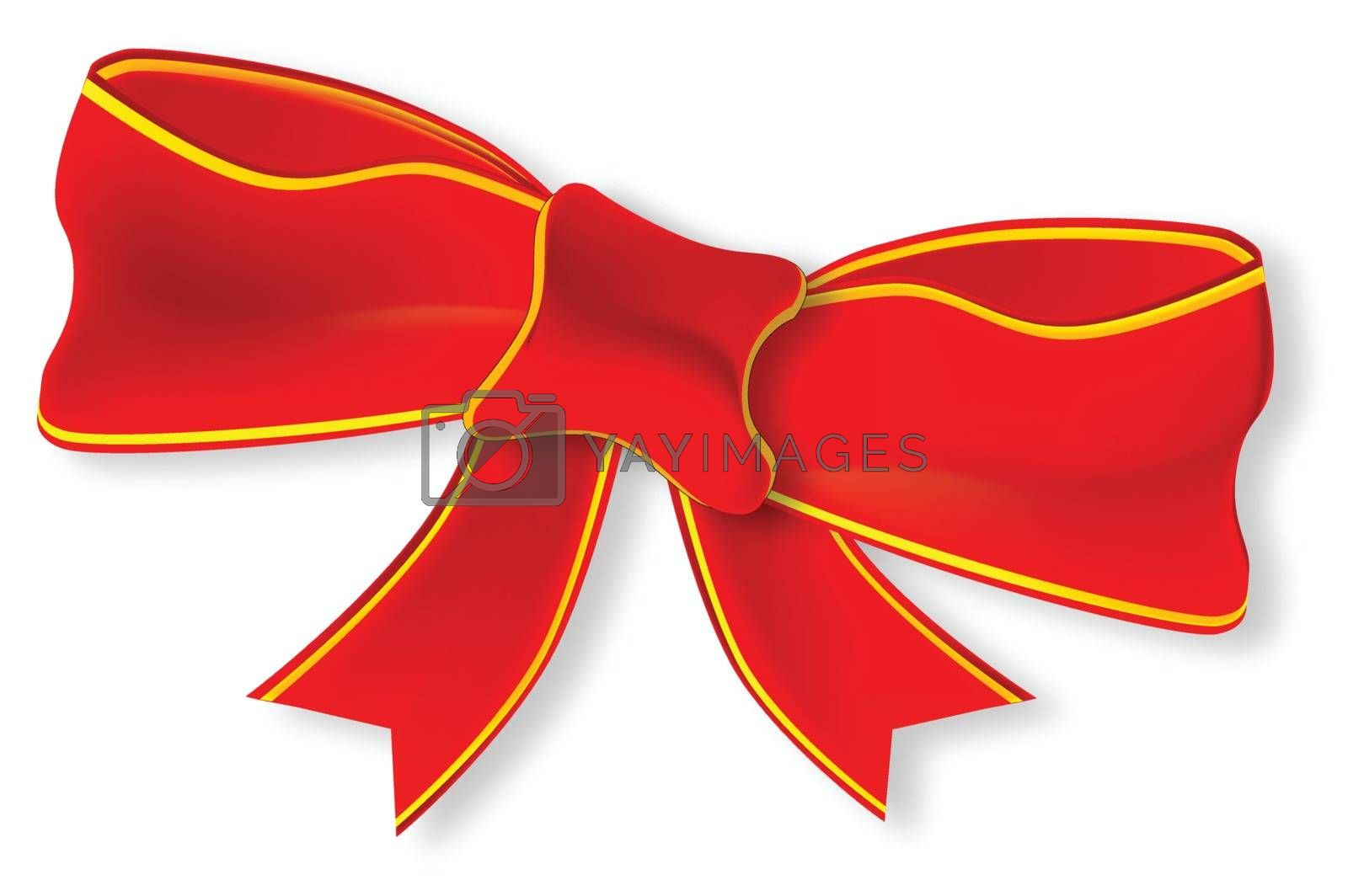 A red satin or silk Christmas ribbon and bow