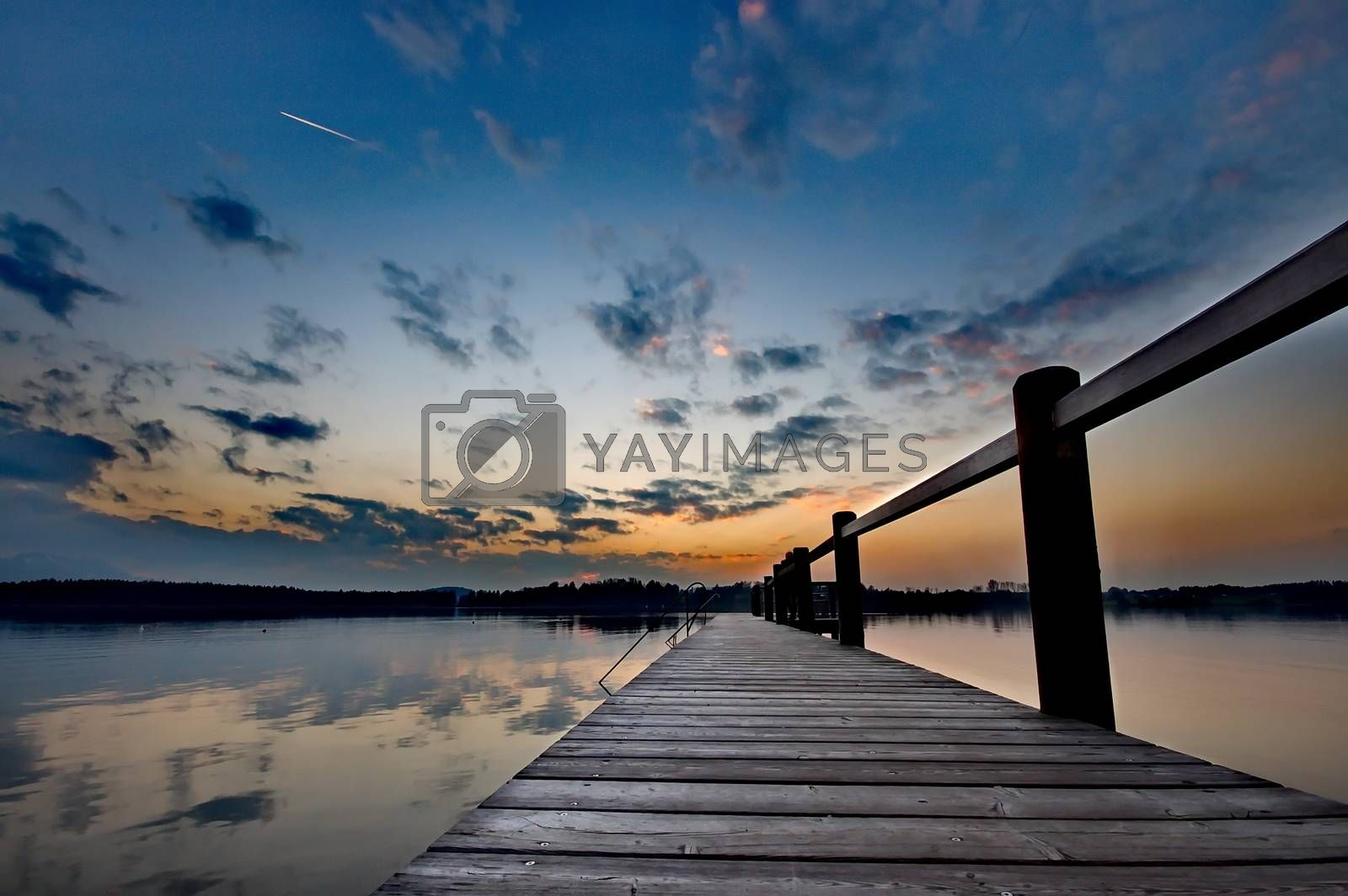 Royalty free image of Sunset at lake Chiemsee in Germany by anderm