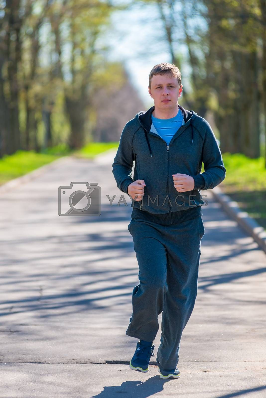 man leads a healthy lifestyle - morning runs