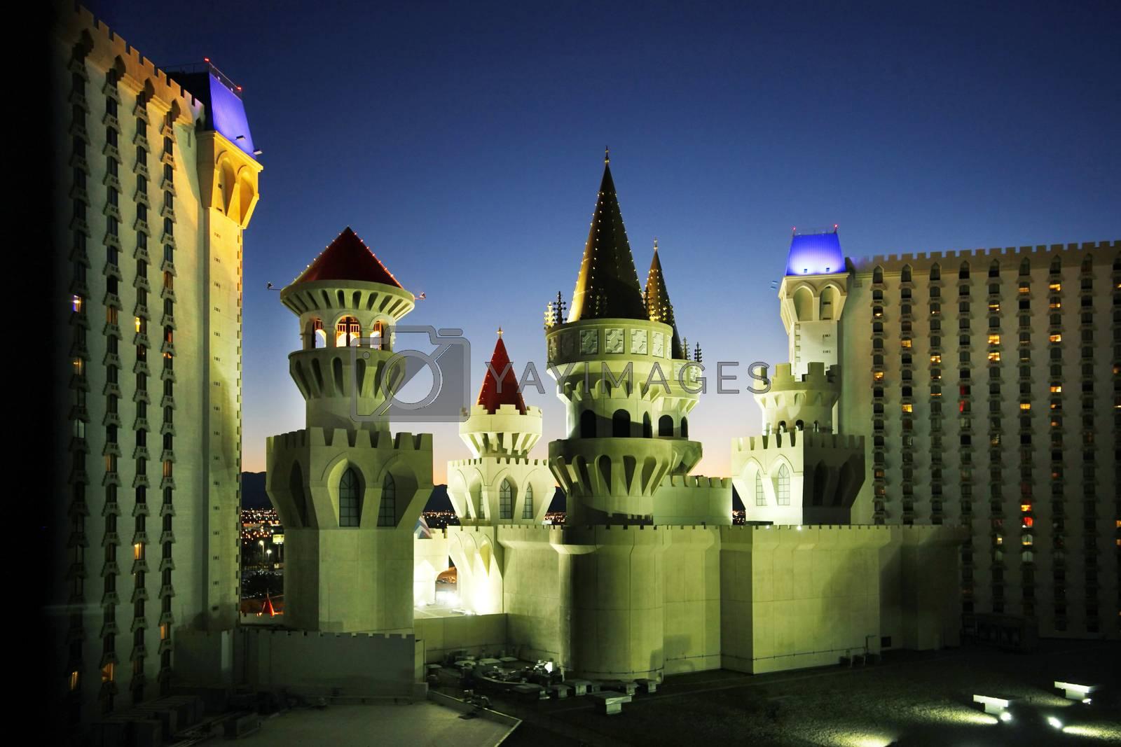 Las Vegas, Nevada, USA - September 19, 2011: The Excalibur Hotel & Casino is shown in this image taken at night in Las Vegas, Nevada.