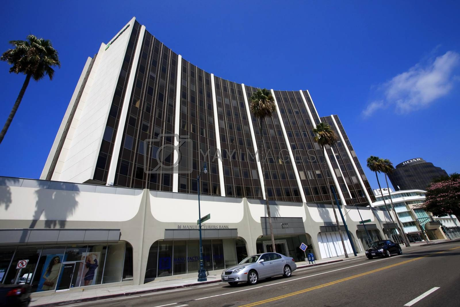 Los Angeles, CA, USA - September 18, 2011 : Modern Office Buildings.   Manufacturers Bank on Beverly Hills, CA