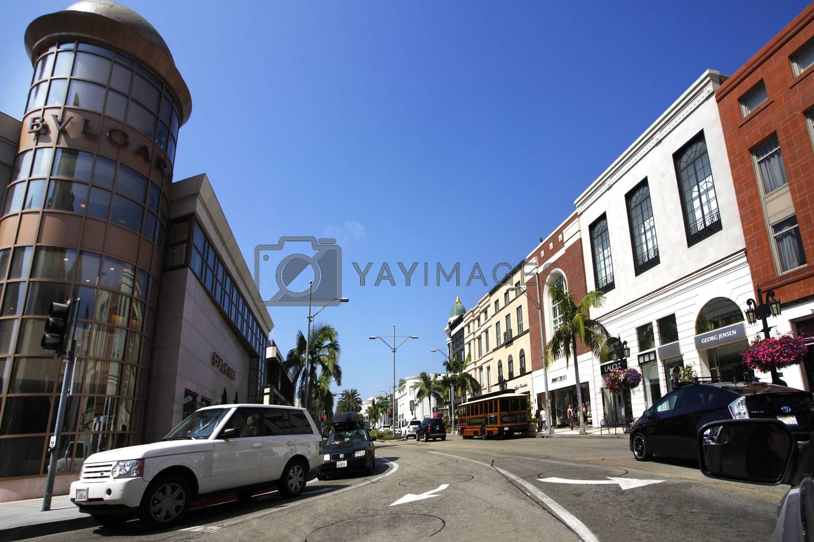 Beverly Hills, California, USA - September 18, 2011: Rodeo Drive in Beverly Hills, USA, during a hot summer day. There are more than 100 world-renowned boutiques in this area