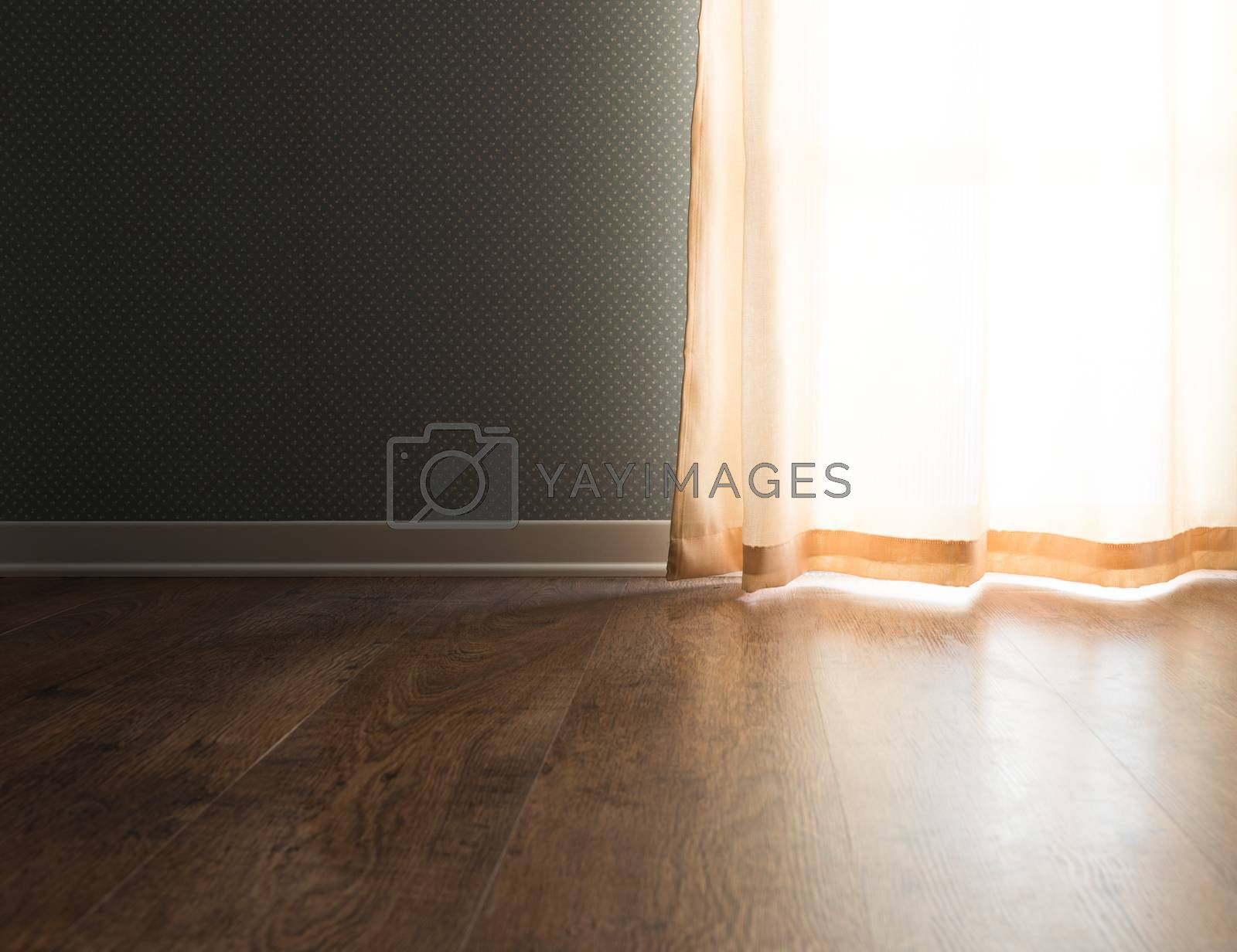 Elegant vintage interior with hardwood floor, window with curtain and dotted wallpaper.