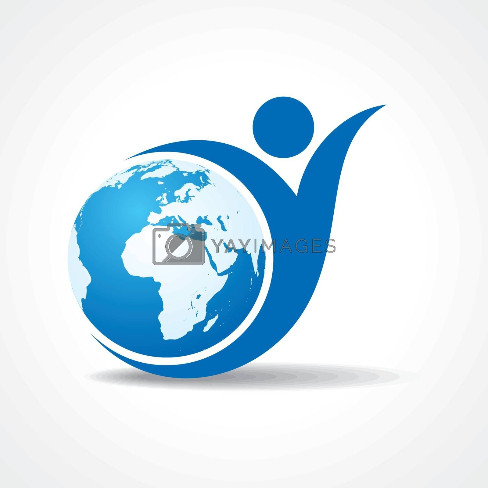 Eco people celebration icon with earth design vector
