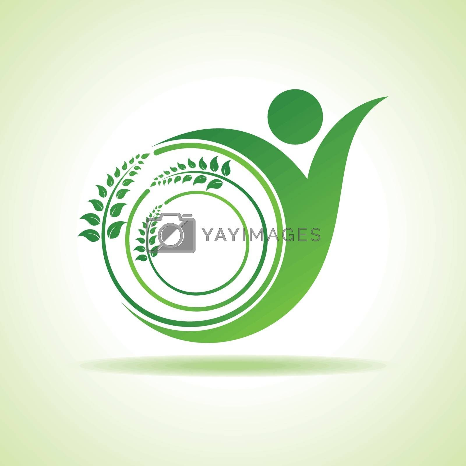Eco people celebration icon with leaf design vector