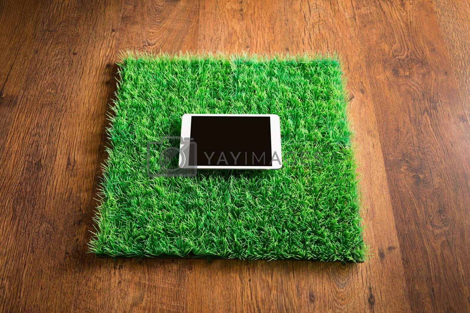 Tablet on artificial grass tile by stokkete