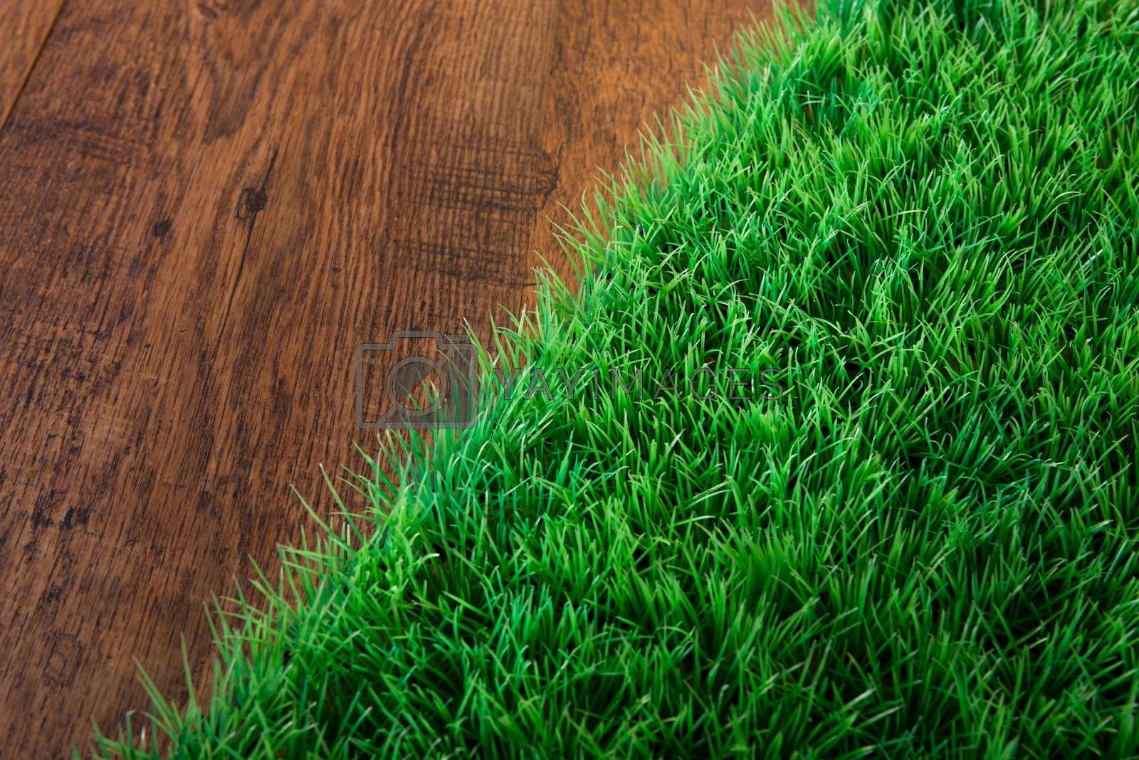 Artificial lush grass close-up on wooden hardwood floor.