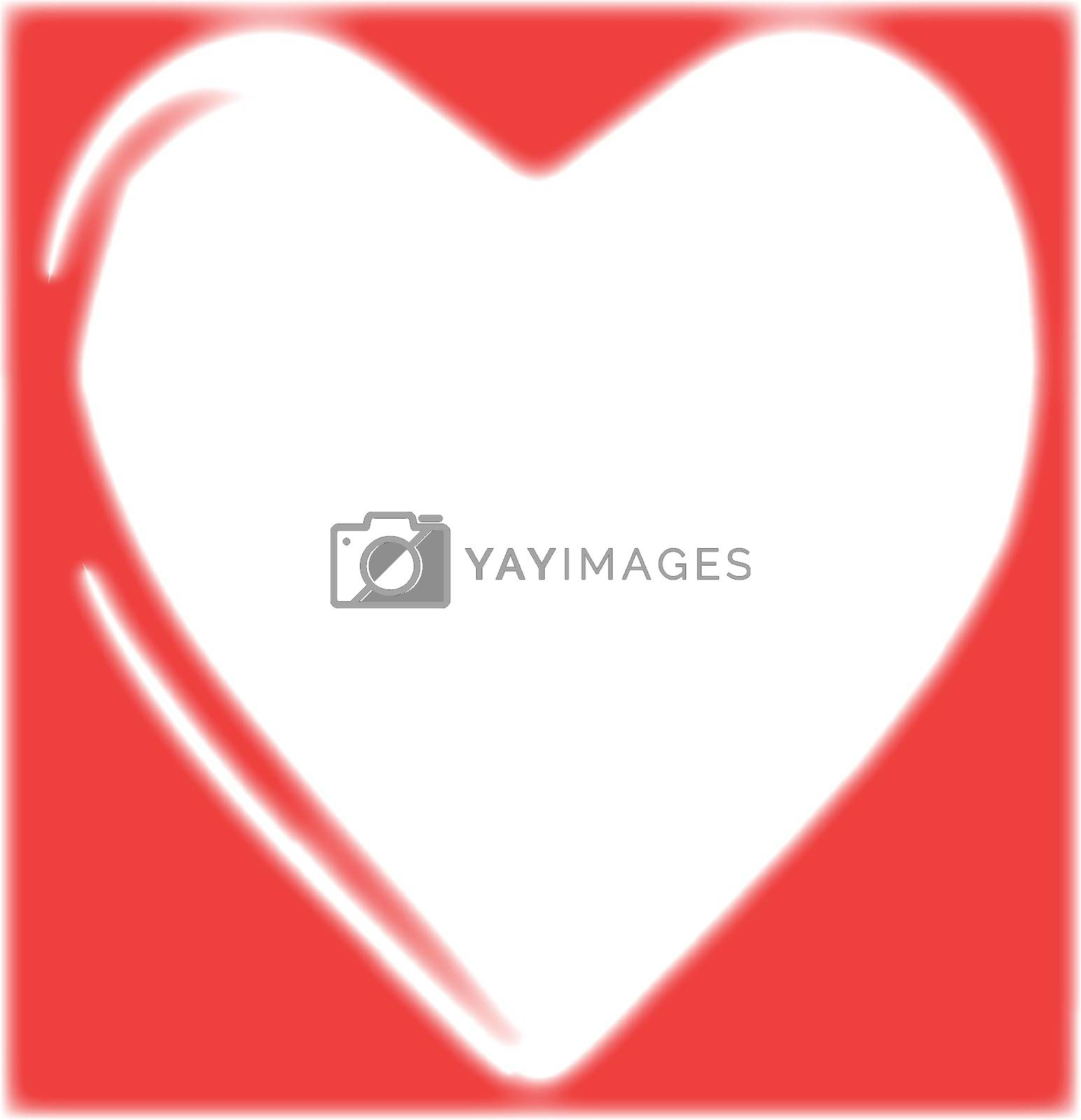 A red valentine heart as a background over white