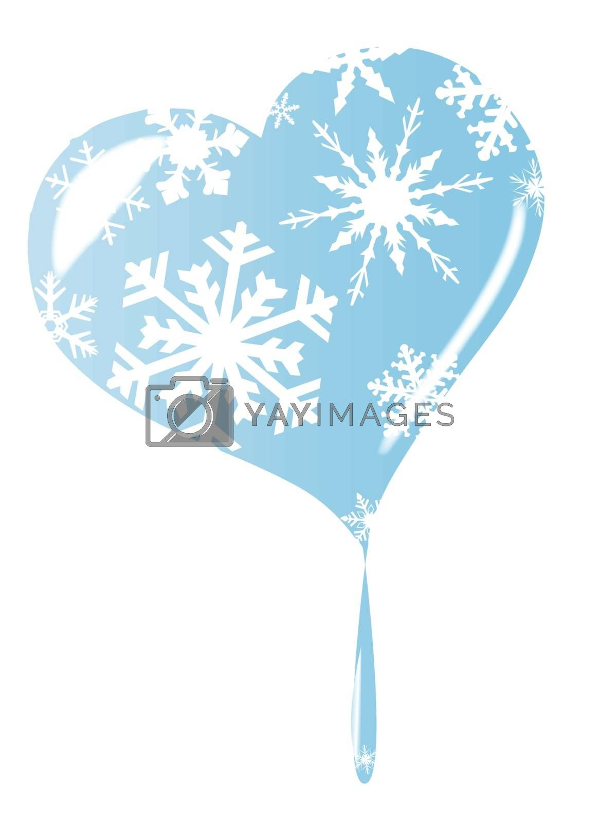 A cold winter melting frozen heart with snowflakes over a white background