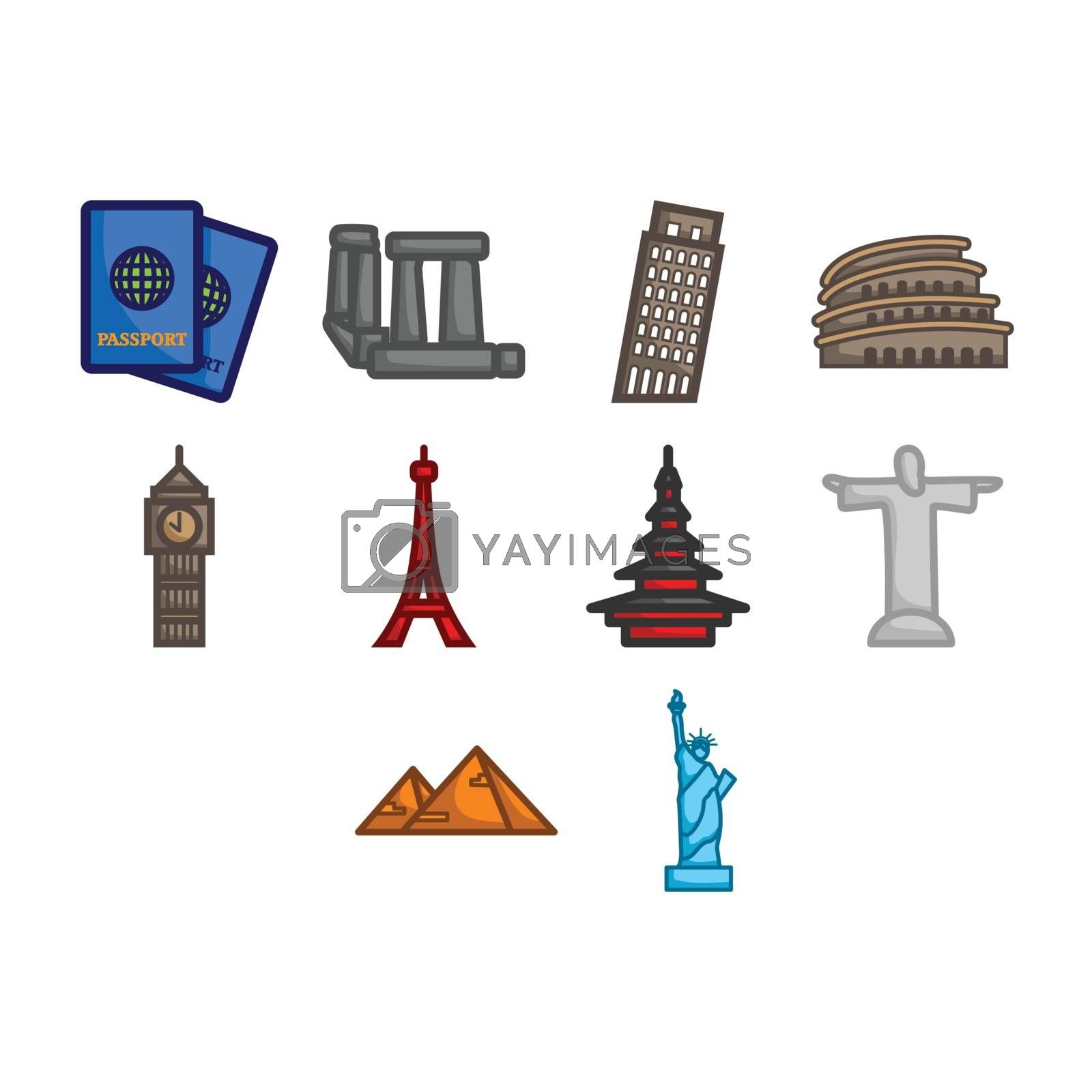 A collection of world travel landmark icon
