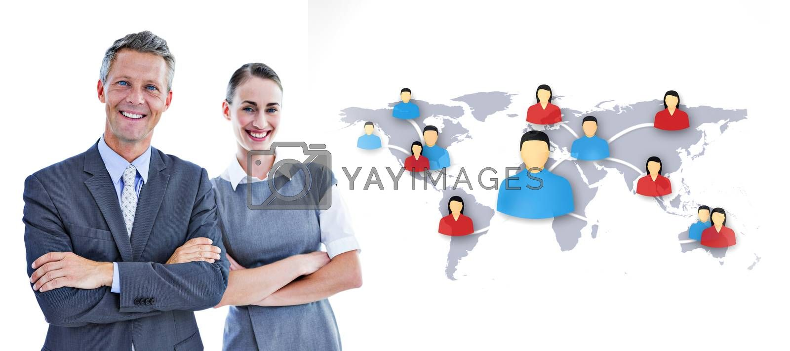 happy business team  against view of communication network