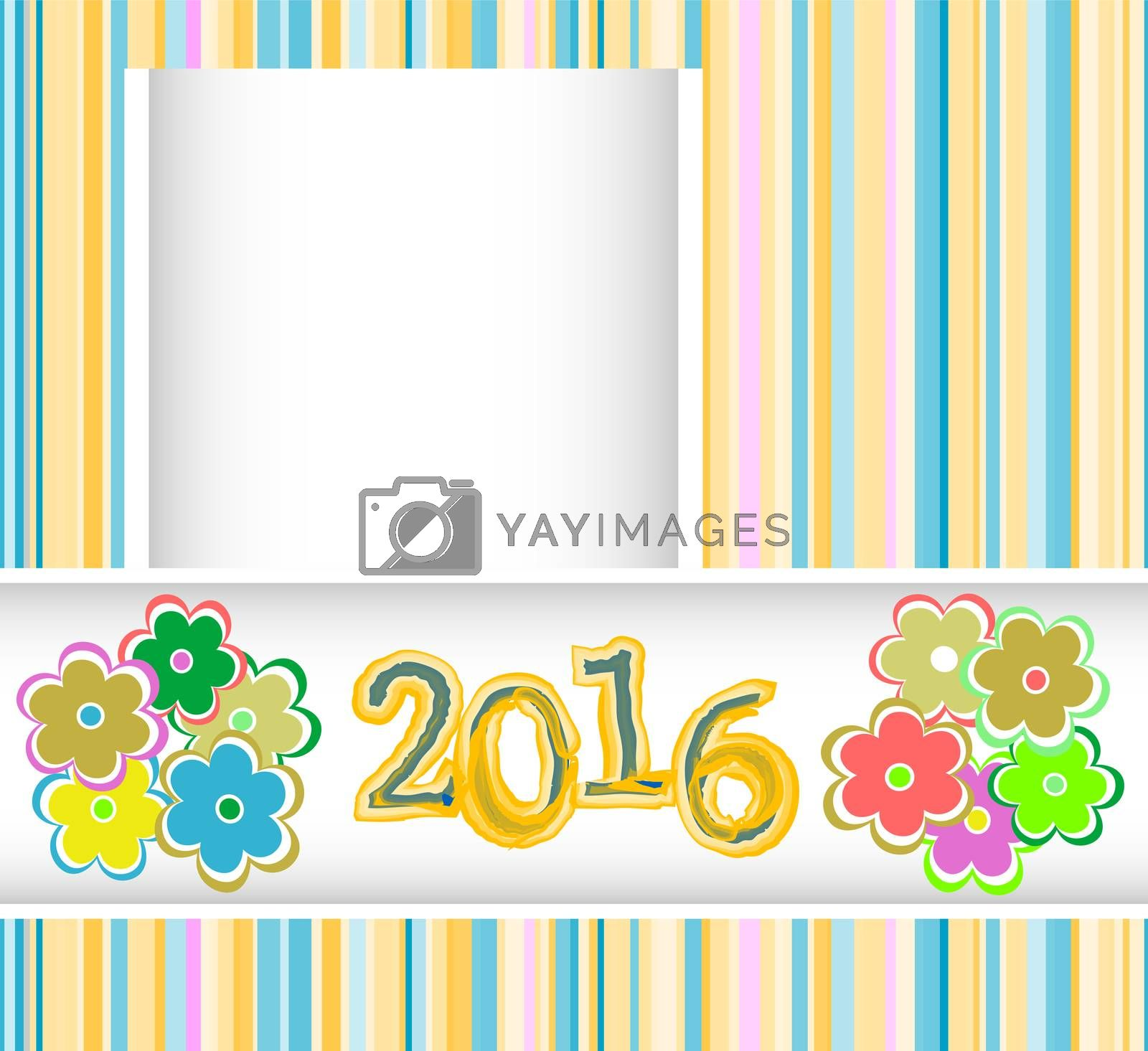 new year 2016 card with flowers set, christmas holiday invitation card