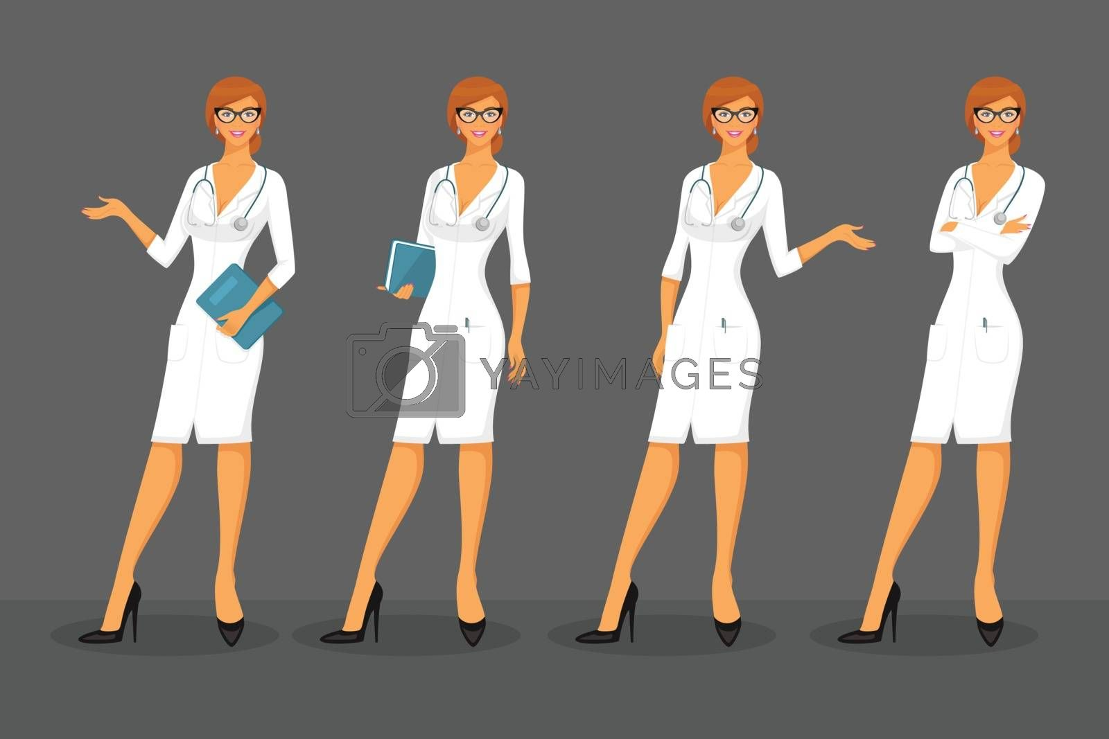 Vector illustration of Woman doctor in various poses