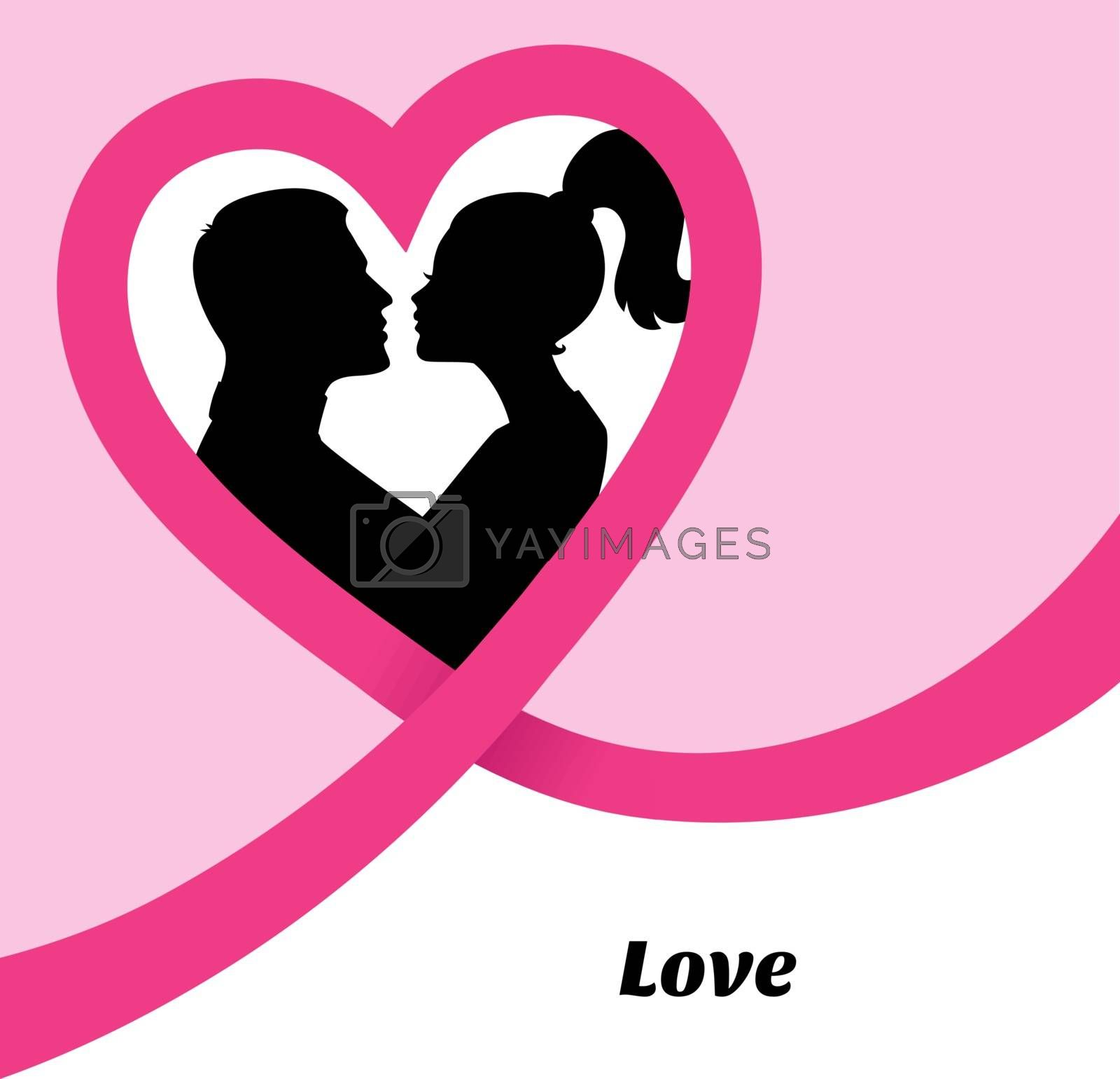 Vector illustration of Couple's silhouette kissing image