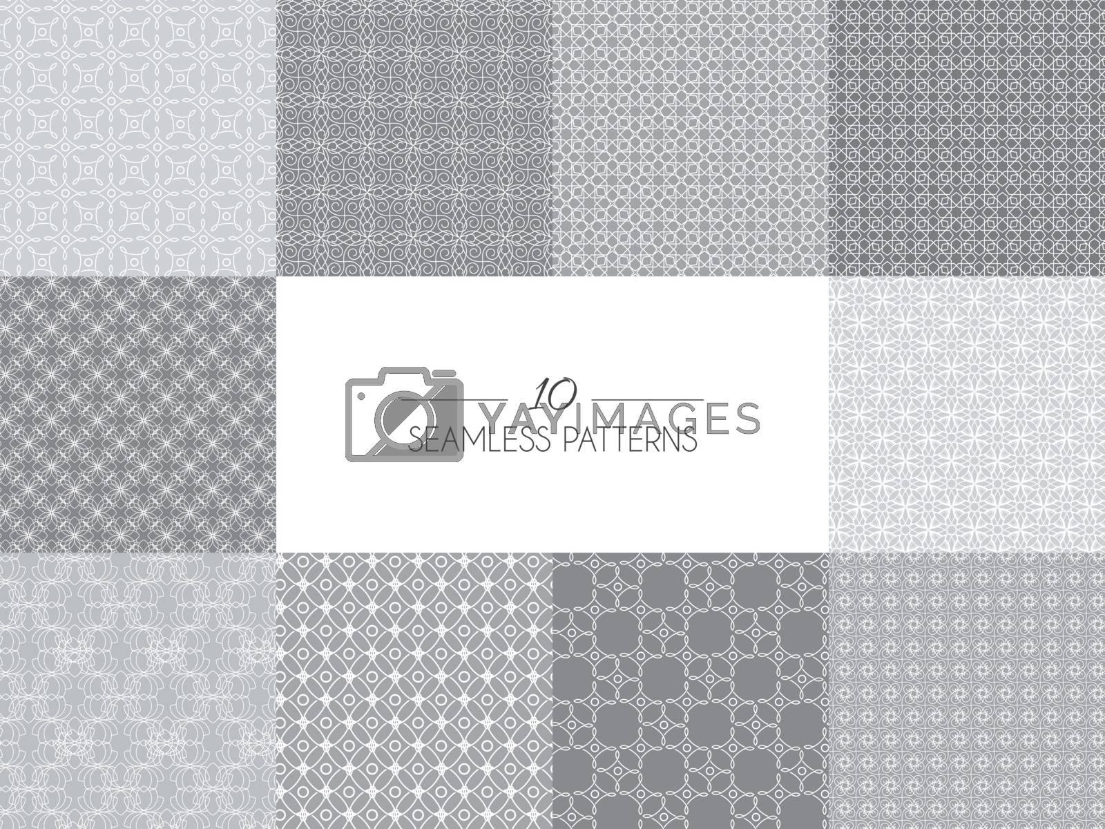 Vector illustration. Set of geometric seamless patterns