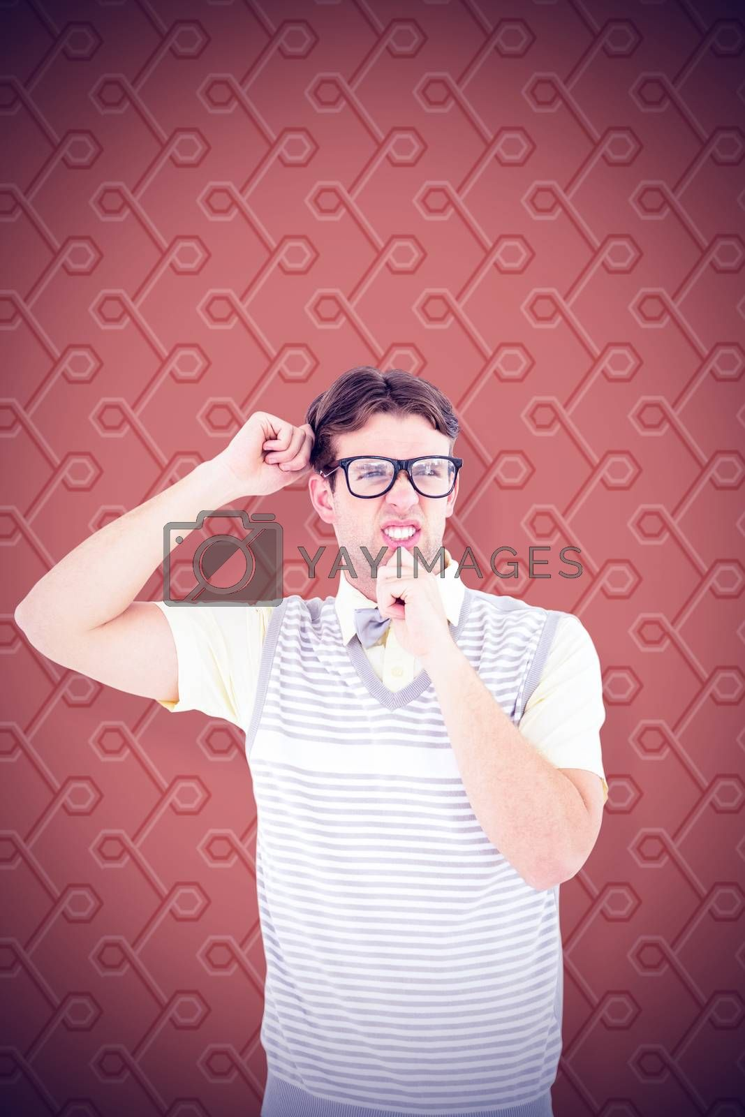 Geeky hipster thinking with hand on chin against background