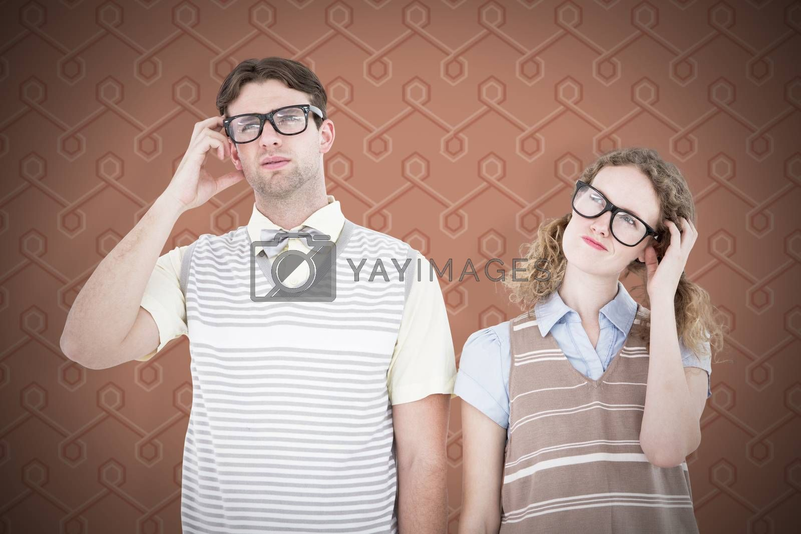 Geeky hipster couple thinking with hand on temple against background
