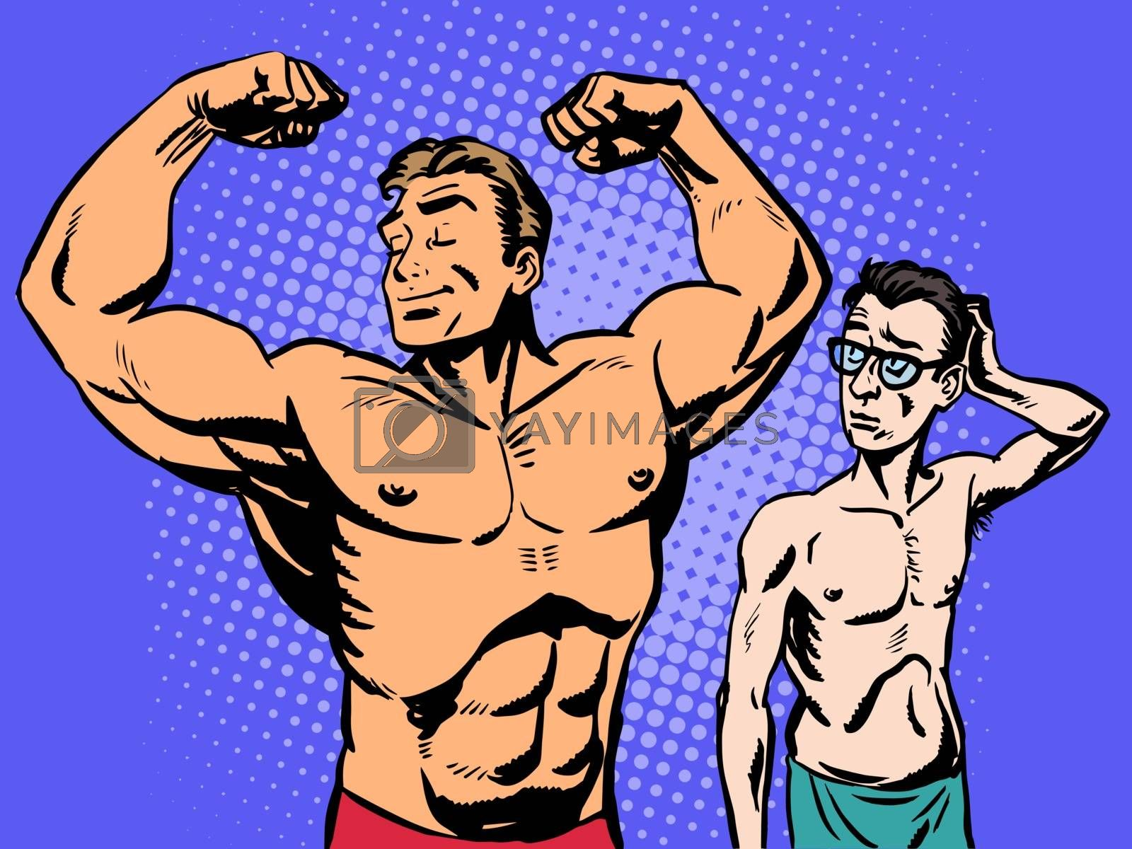 Bodybuilder and thin man is the sport of fitness. Retro style pop art humor