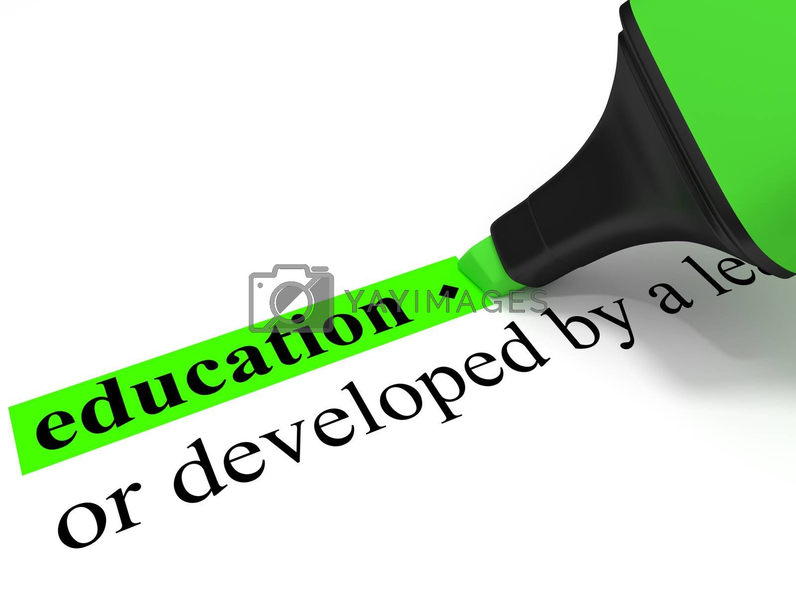 "The dictionary-word ""education"" marked with a green marker."