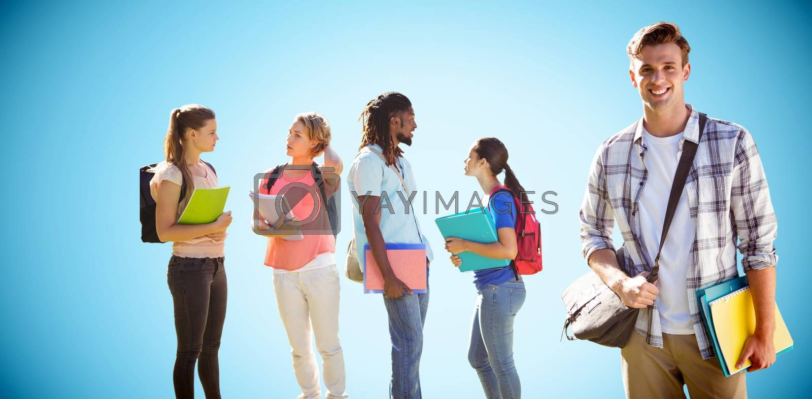 Happy students outside on campus  against blue background with vignette