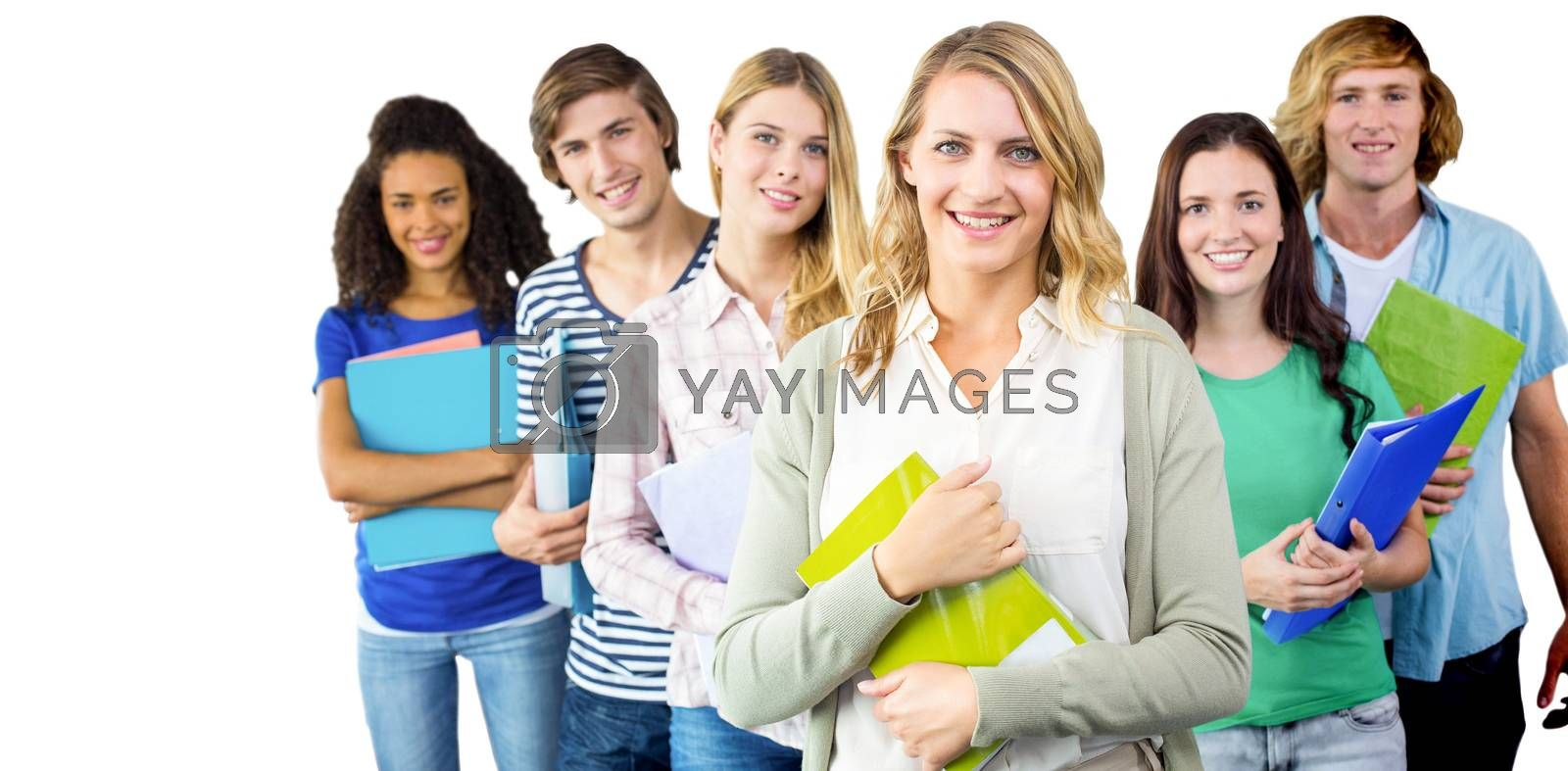 College students holding folders at college against white background with vignette
